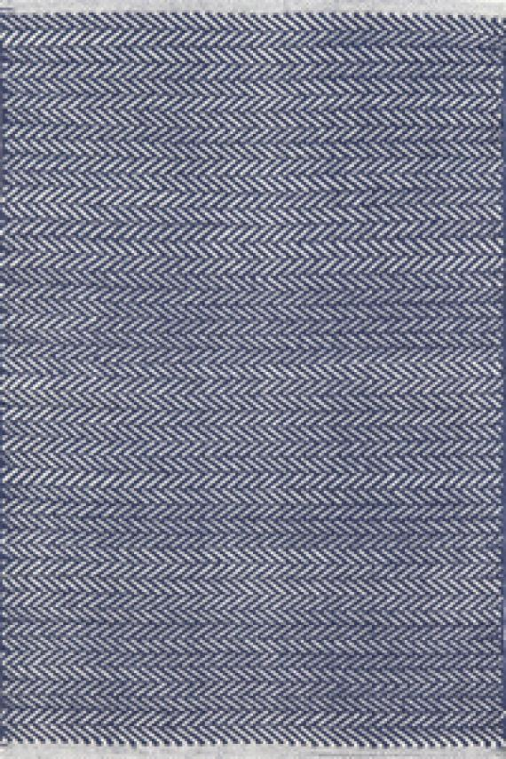 Herringbone Indigo Woven Cotton Rug