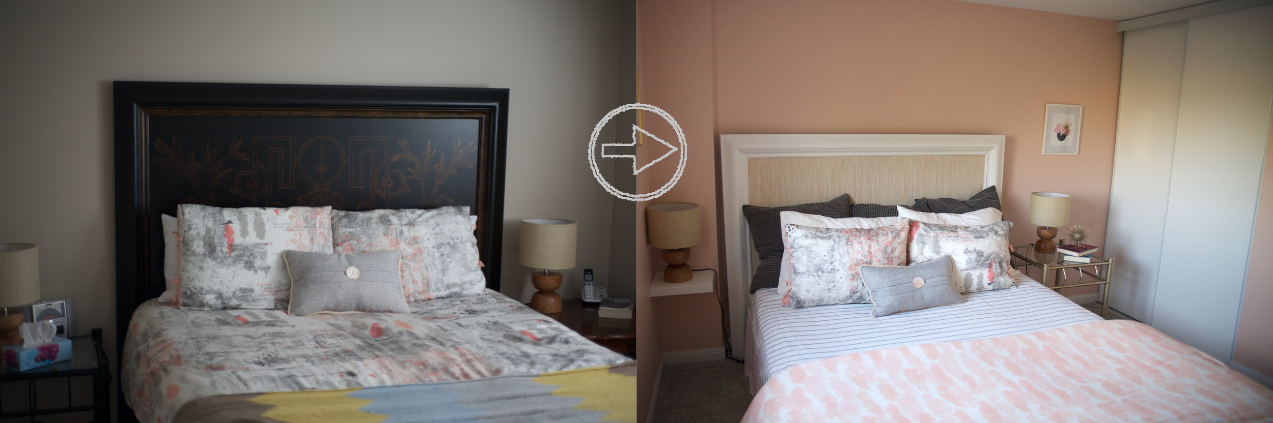 Dark and heavy headboard goes light and a little beachy.