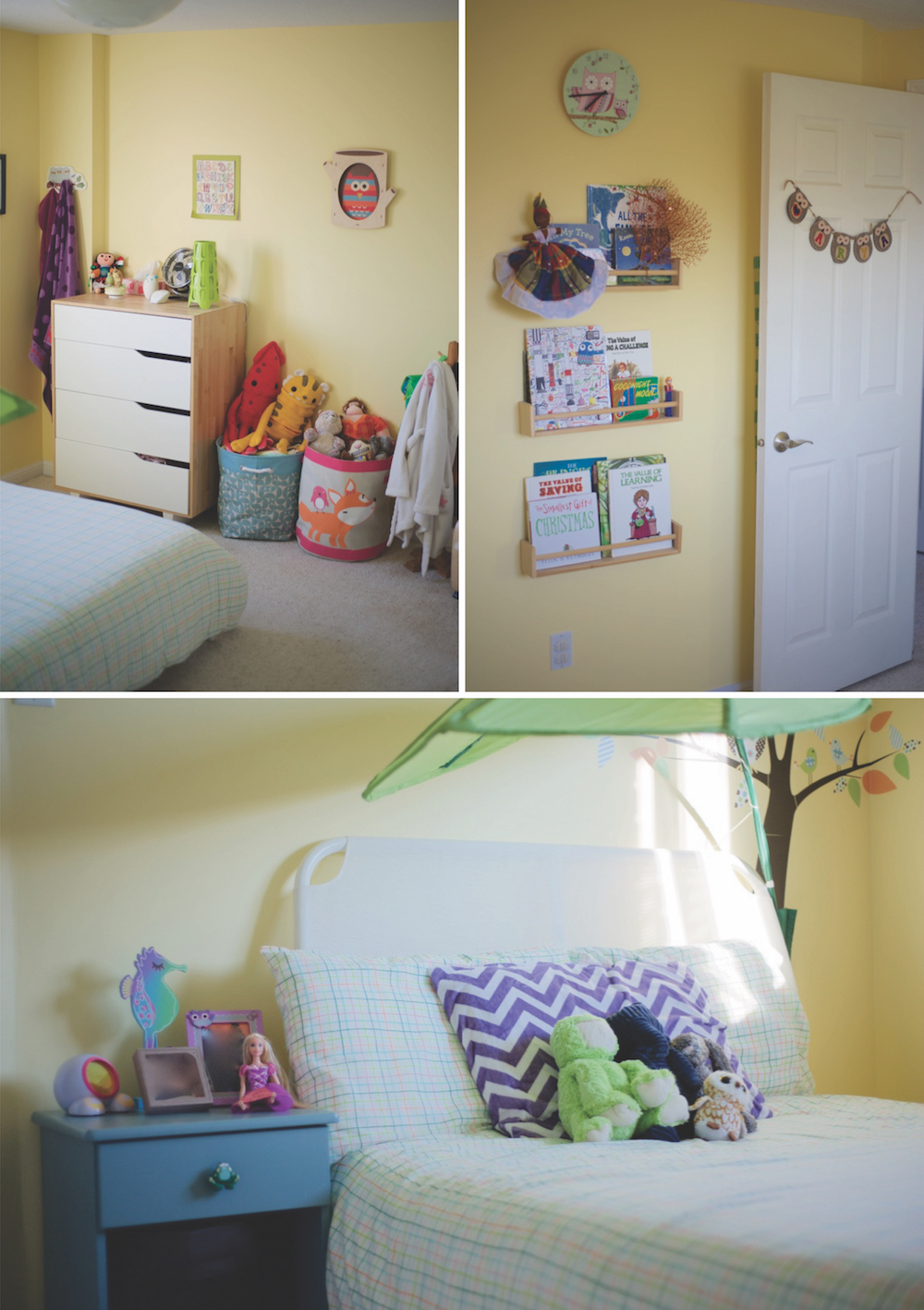 We were able to reuse all of the big furniture, bed, dresser and side table in her new room!