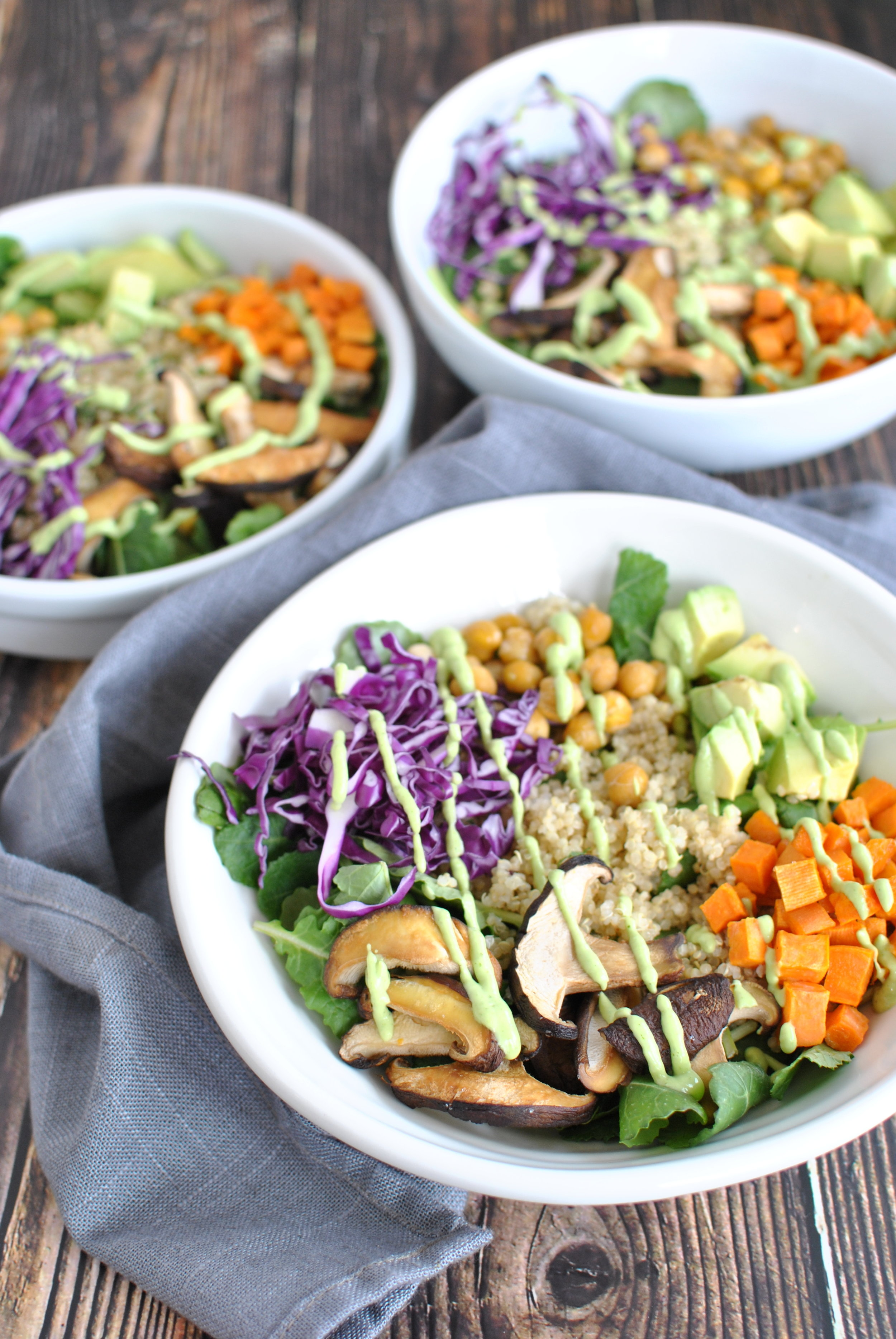 Roasted Veggie Superfood Bowl with Green Goddess Dressing -