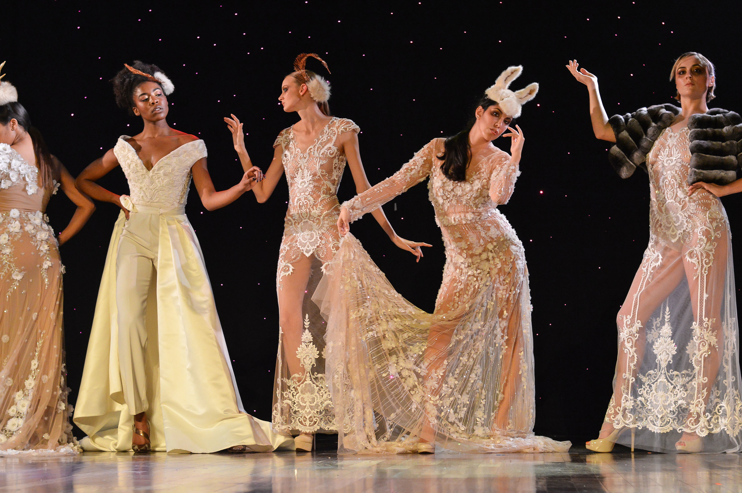 Gowns by Pedram Couture/ make up and hats by midori tajiri byrd/ photography: Mike D. Photography