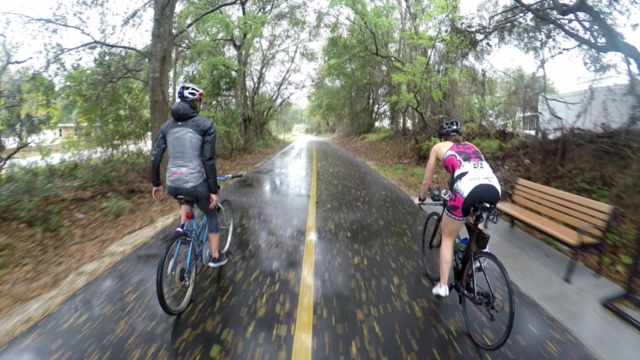 Lenny and Angela Naeth on a rainy recovery ride earlier today.  Photo Credit: Pedro Gomes