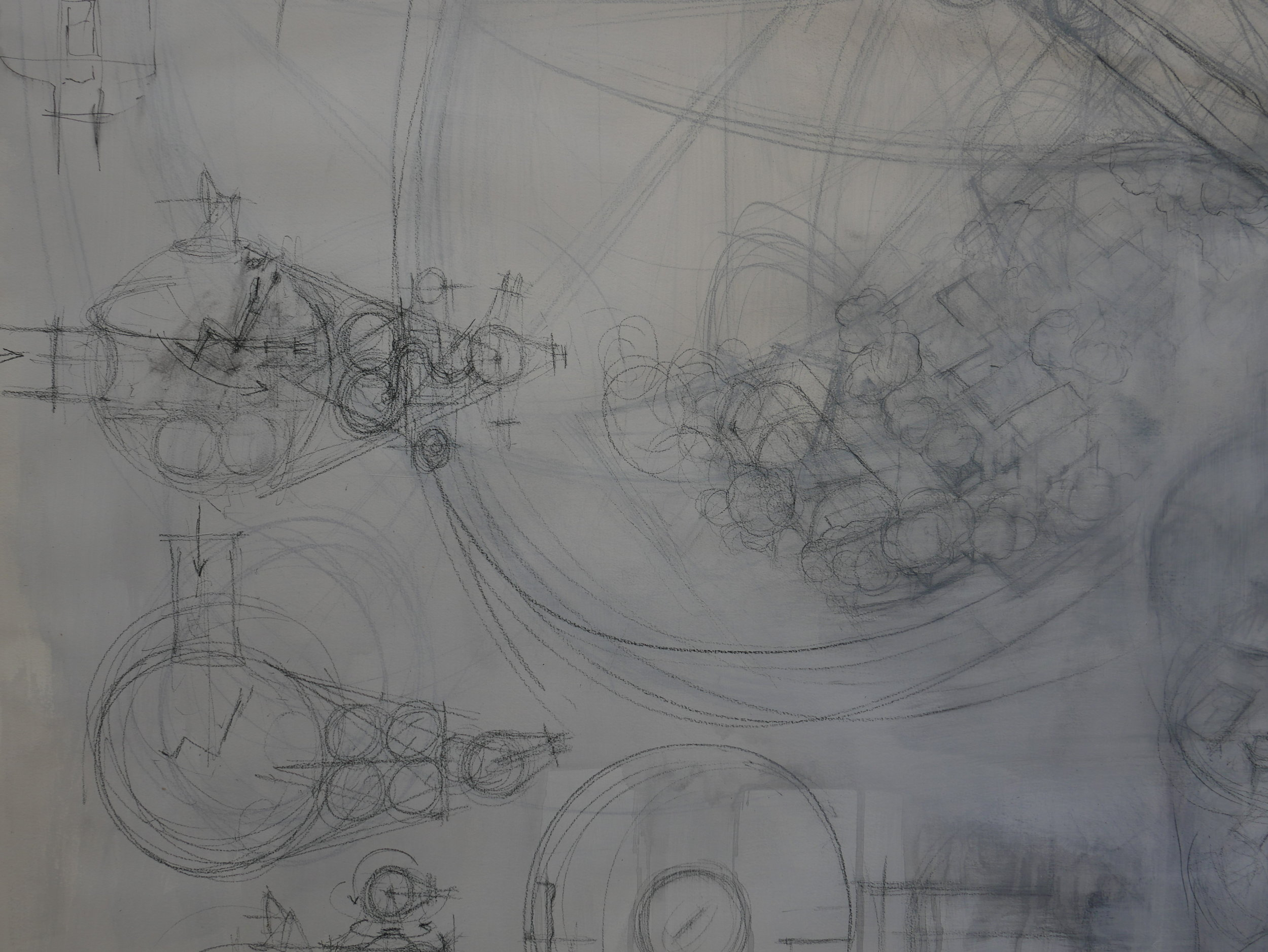 space habitat 02, studio drawing (detail), 2017  pencil, paper 150 x 180cm