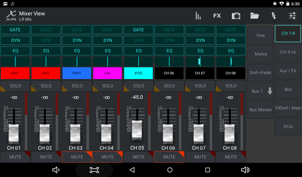 Behringer X-Air App (default layout) on a small Android tablet