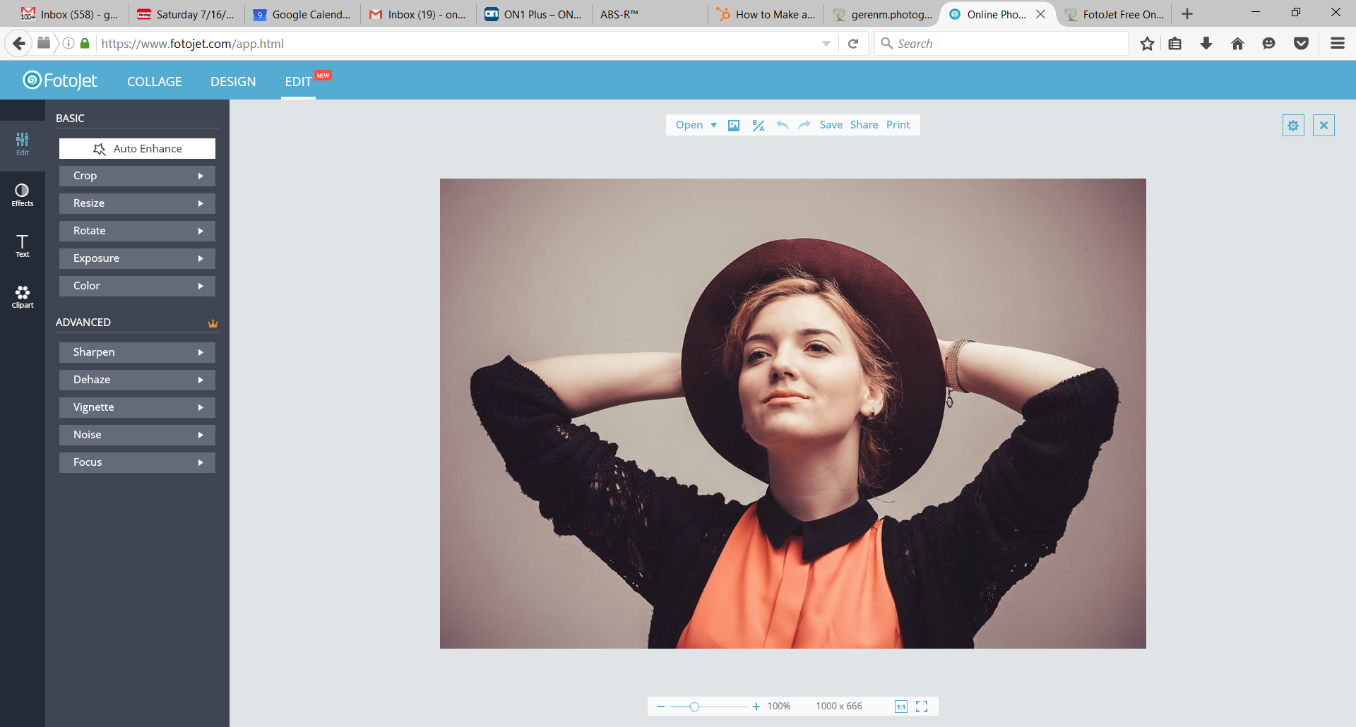 fotojet's new online image editing screen.