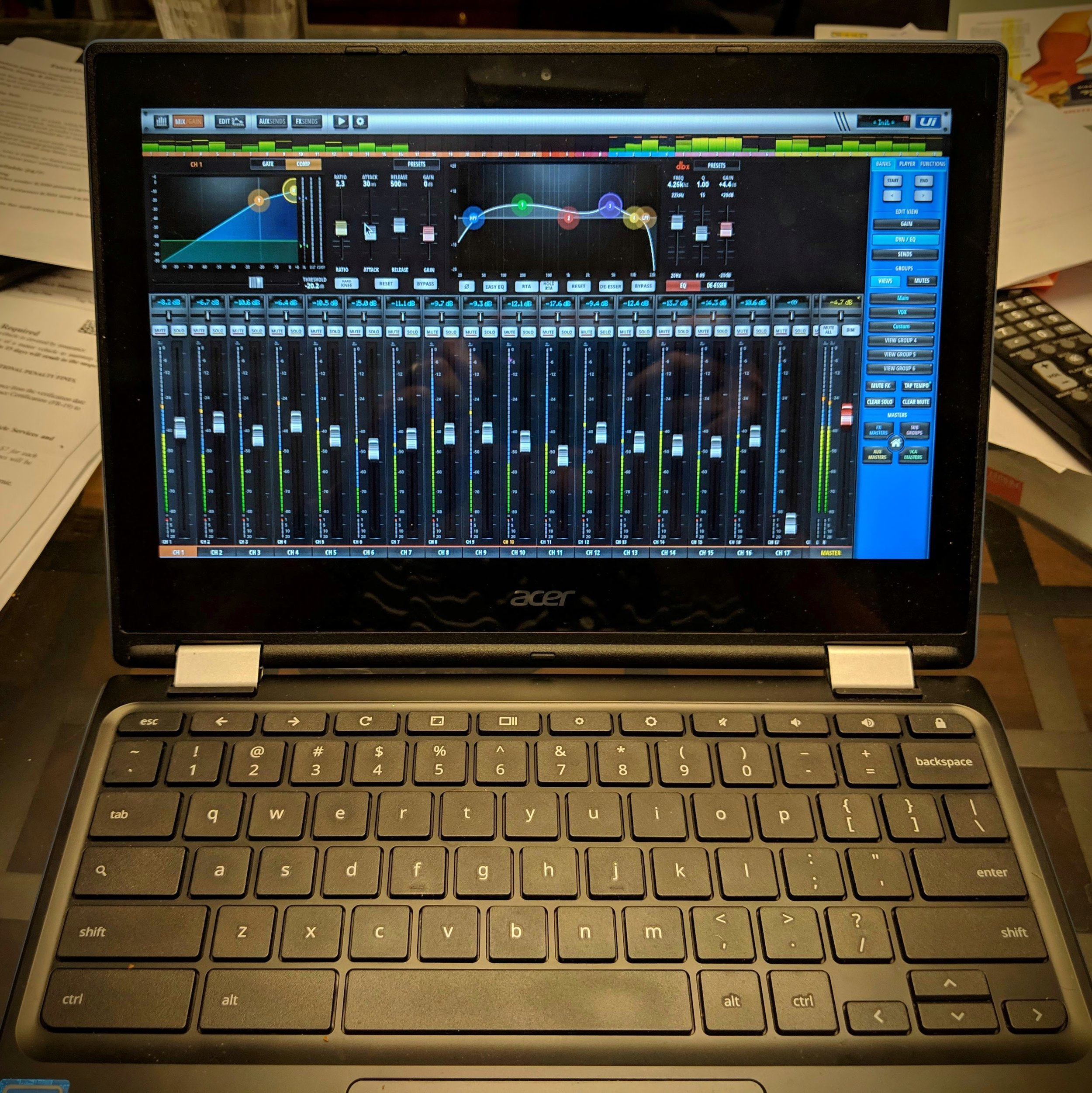 Soundcraft Ui web interface on Acer Chromebook R11