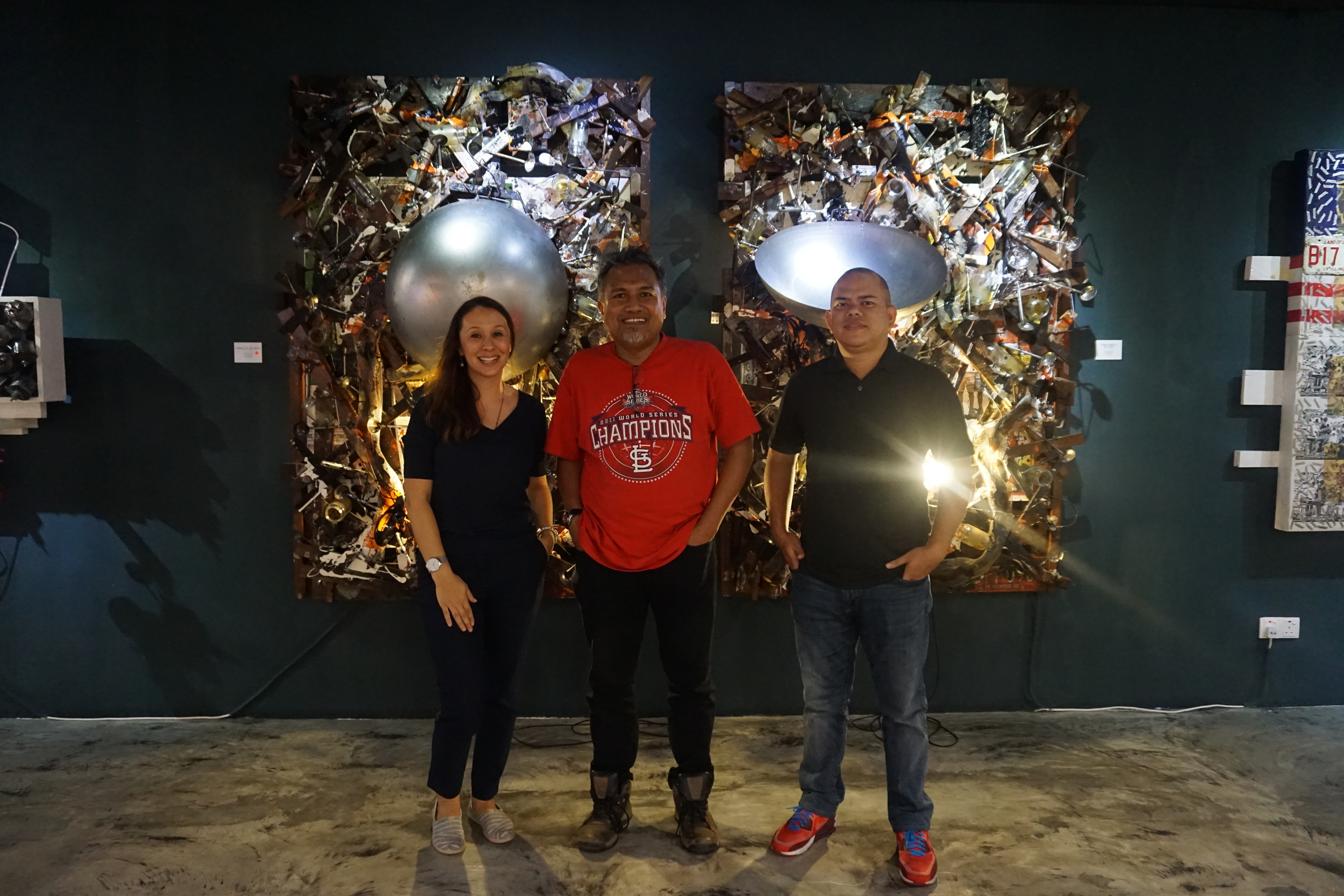 """In front of """"Ferguson (For the People) - 2012/14 and """"Ferguson (Hands Up, Don't Shoot) - 2012/14 together with Suhaimi Fadzir and Azhar Ahmad."""