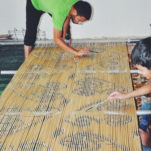 Frankitas' weavers textiles in Uzbekistan -  picture courtesy of Frankitas