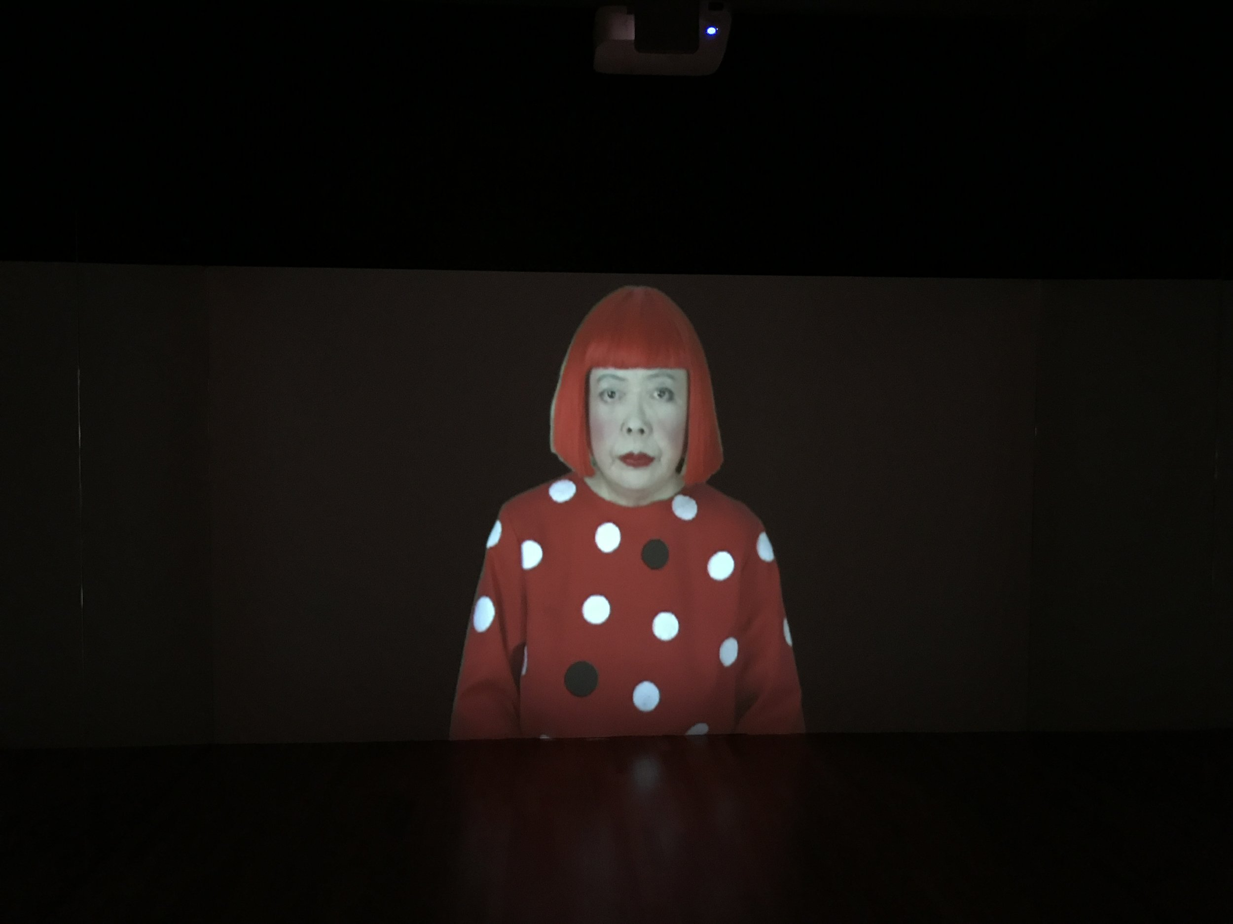 "The artist herself in a video-installation titled ""Song of a Manhattan Suicide Addict"""