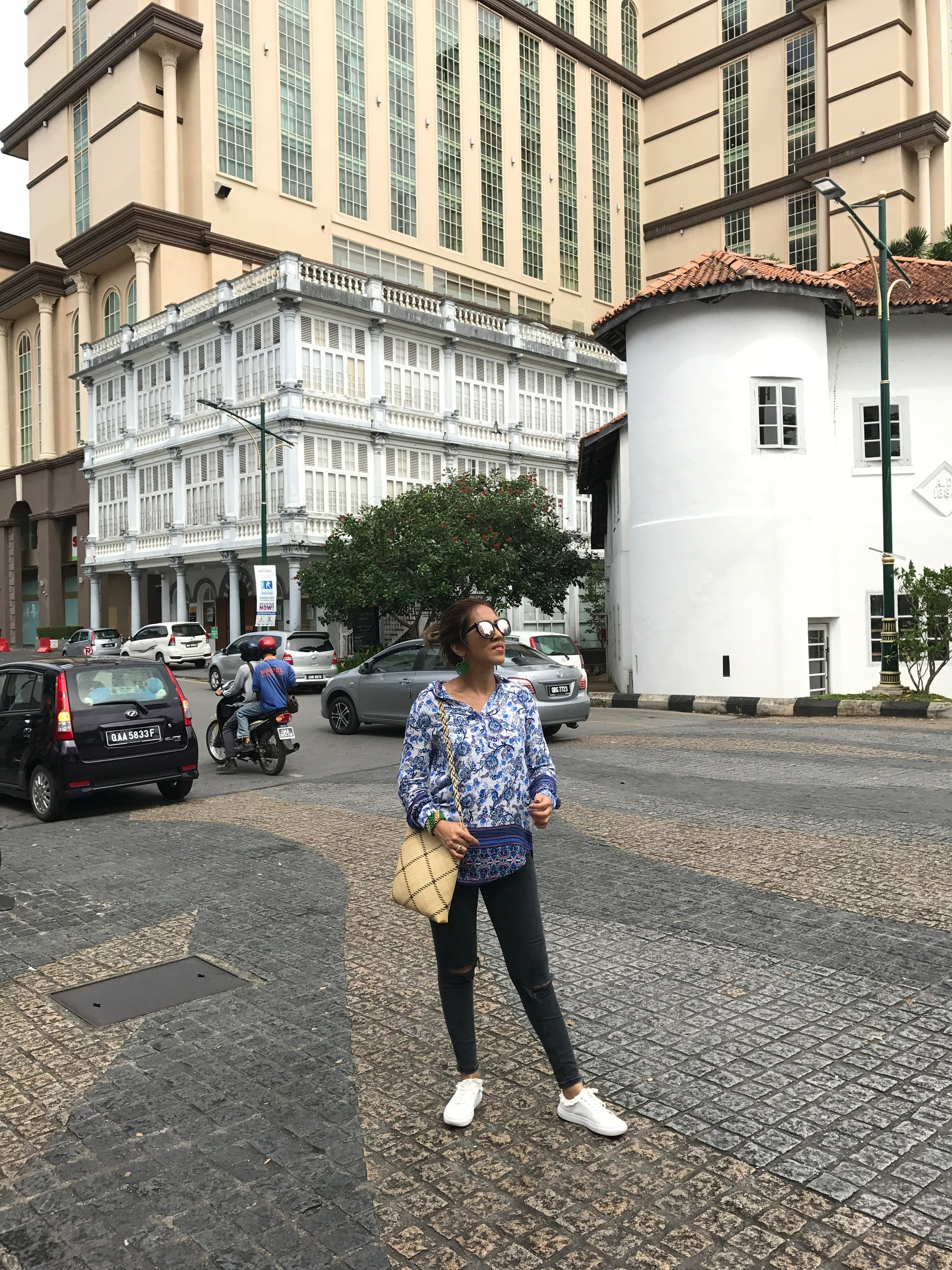Behind me lies the historic buildings where the Textile Museum and the Round Tower can be found. The Round Tower was where Kendy Mitot and Alena Murang's exhibition pieces were found