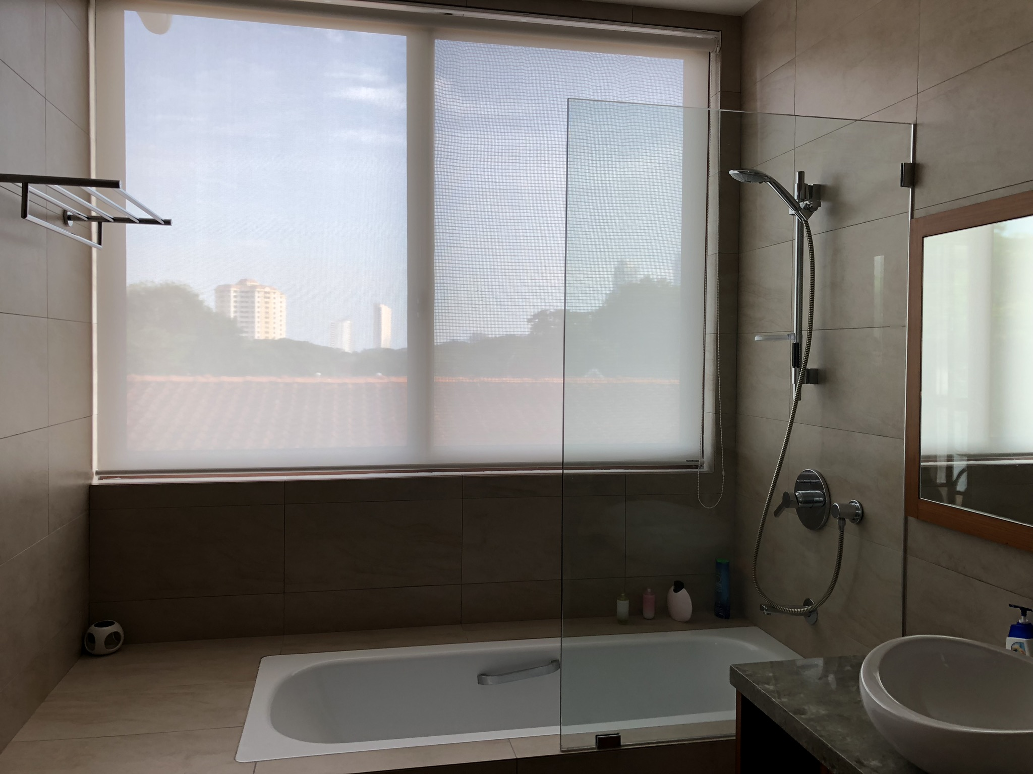 Our marble adjoining bath reflects the sandstone colored hills and catches the bright sun.