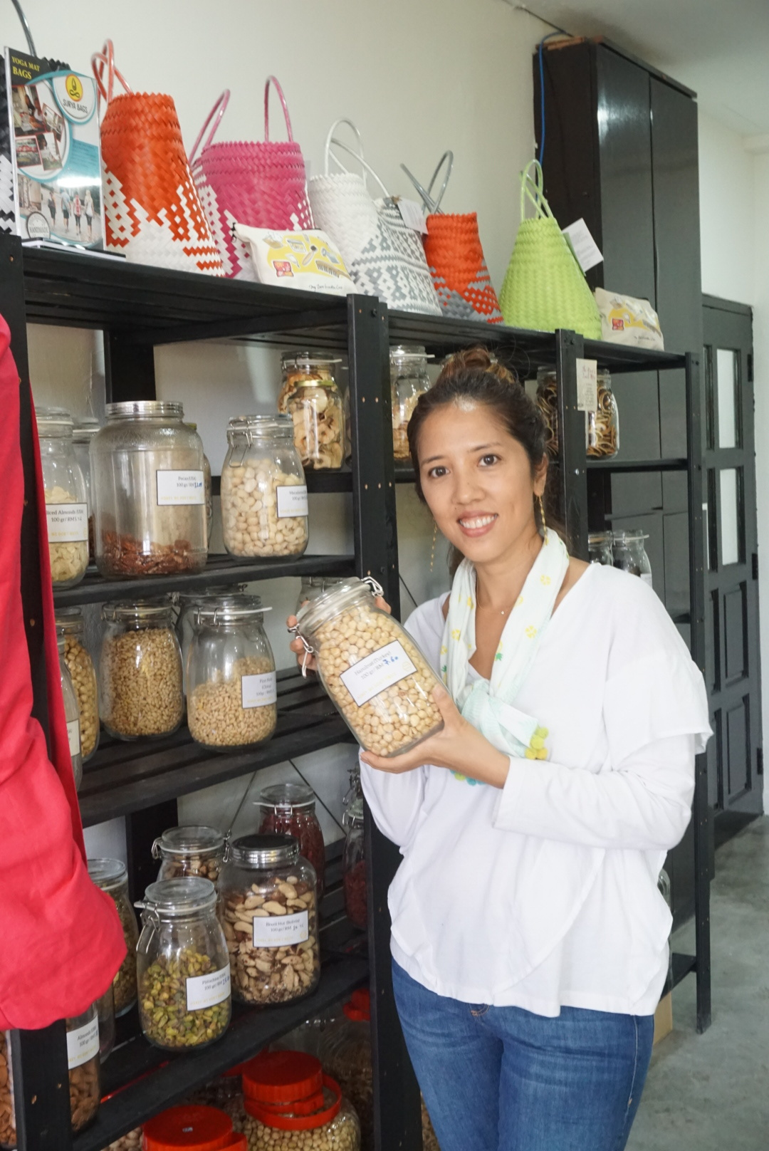 Farena checking out the dried foods section!