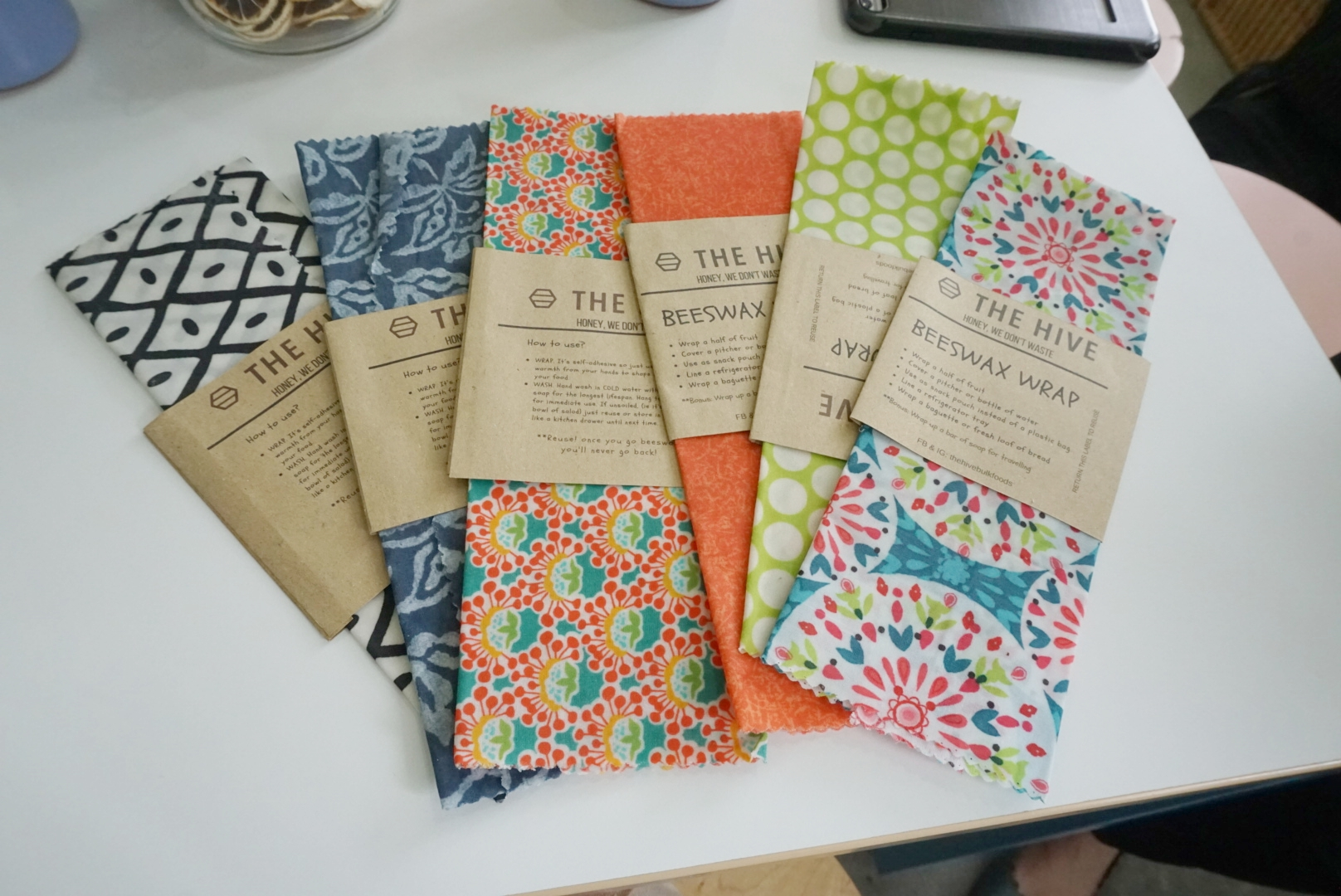 The Hive conducts workshops such as how to make your own beeswax wrap! You can also purchase the wraps at their store!