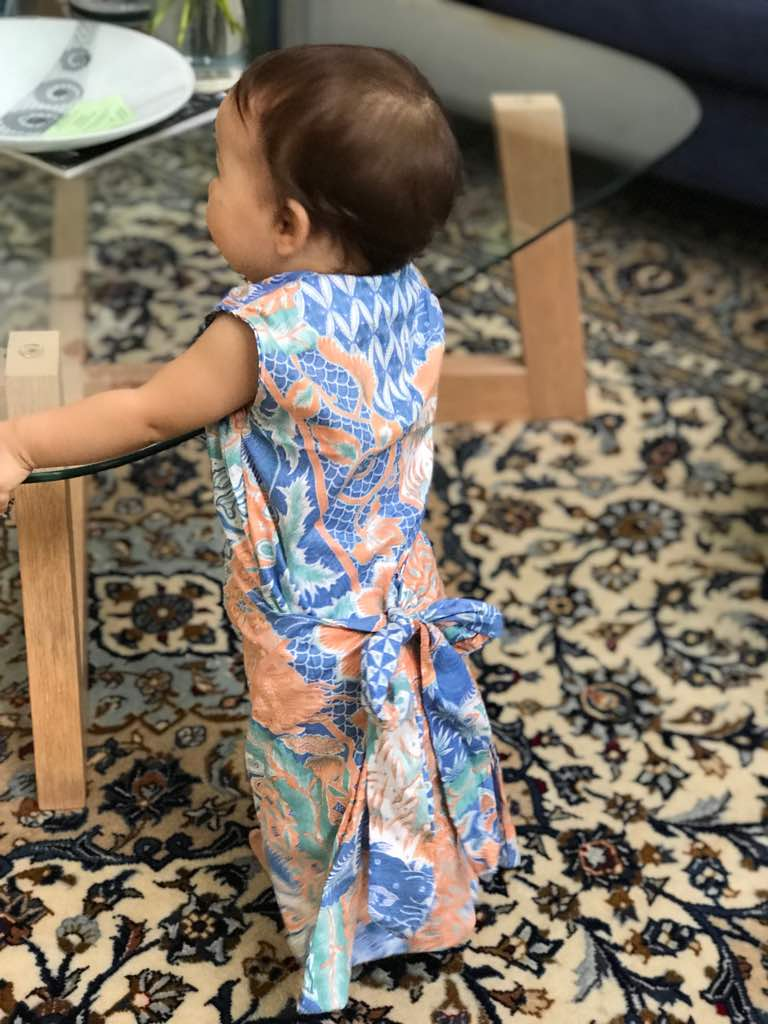 Bebe in her first handmade chuba - in Batik - of course!