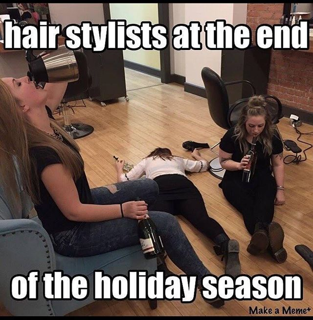 Working day and night, weekends and even Christmas Eve!  We love our clients and would do anything for them!  #stylisthumor #hairstylist #lovewhatyoudo #welovehair