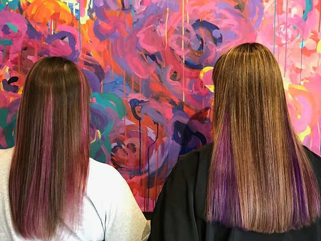 Mom & daughter matching peek a boos for Karen & Mellissa!  Done by owner Becky! ⁣ •⁣ •⁣ •⁣ •⁣ #hairstylist #venturahairstylist #rebebelle #pinkhair #purplehair #peekaboos #loveyourhair #salonlife #behindthechair #pulpriot