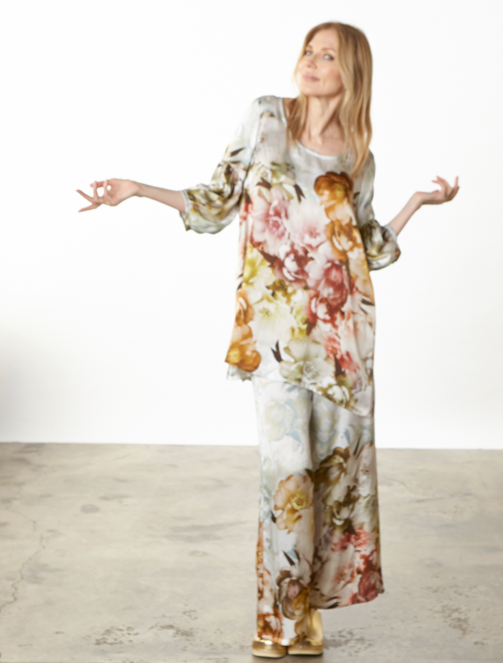 Lantern Tunic, Long Full Pant in Borghese Italian Silk