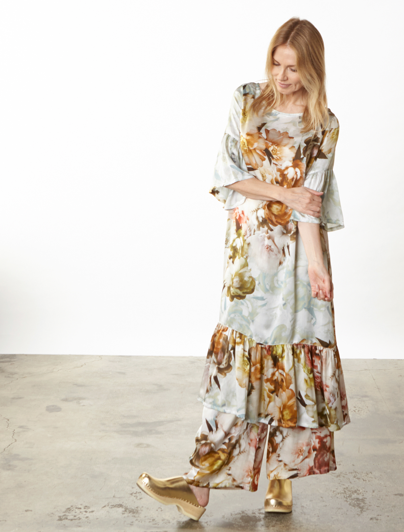 Seraphina Dress, Long Full Pant in Borghese Italian Silk