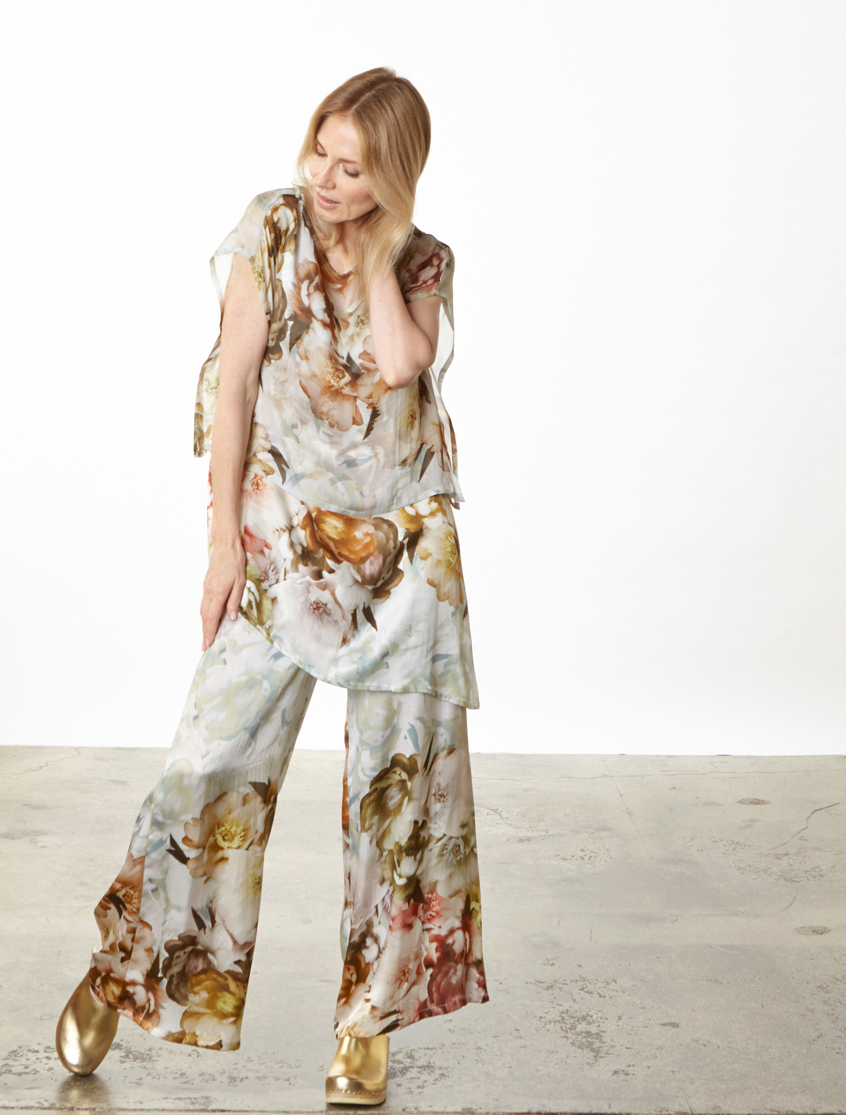 Una Tunic, Long Full Pant in Borghese Italian Silk, Pio Poncho in Borghese Italian Sheer Silk