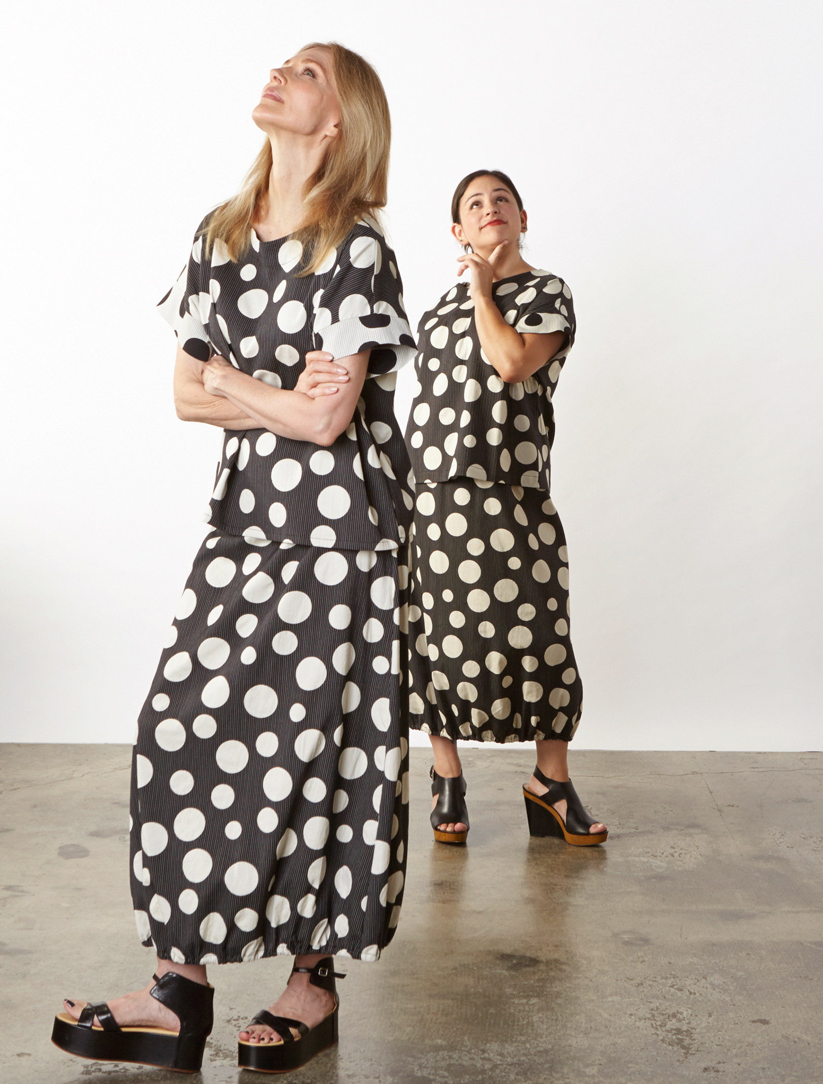 Orla Shirt, Bell Skirt in Italian Dots & Stripes