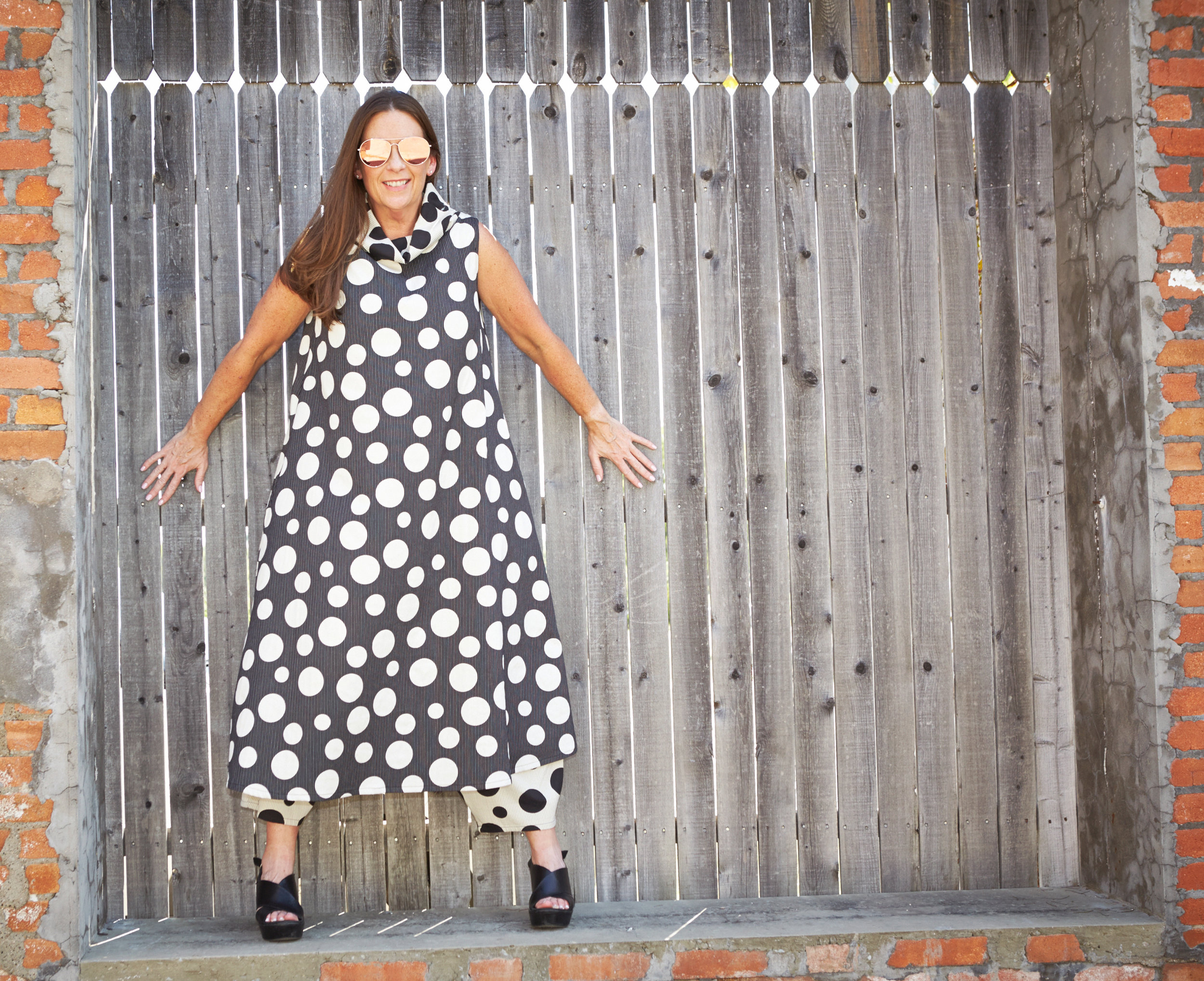 Henrietta Dress, Oliver Pant in Italian Dots & Stripes