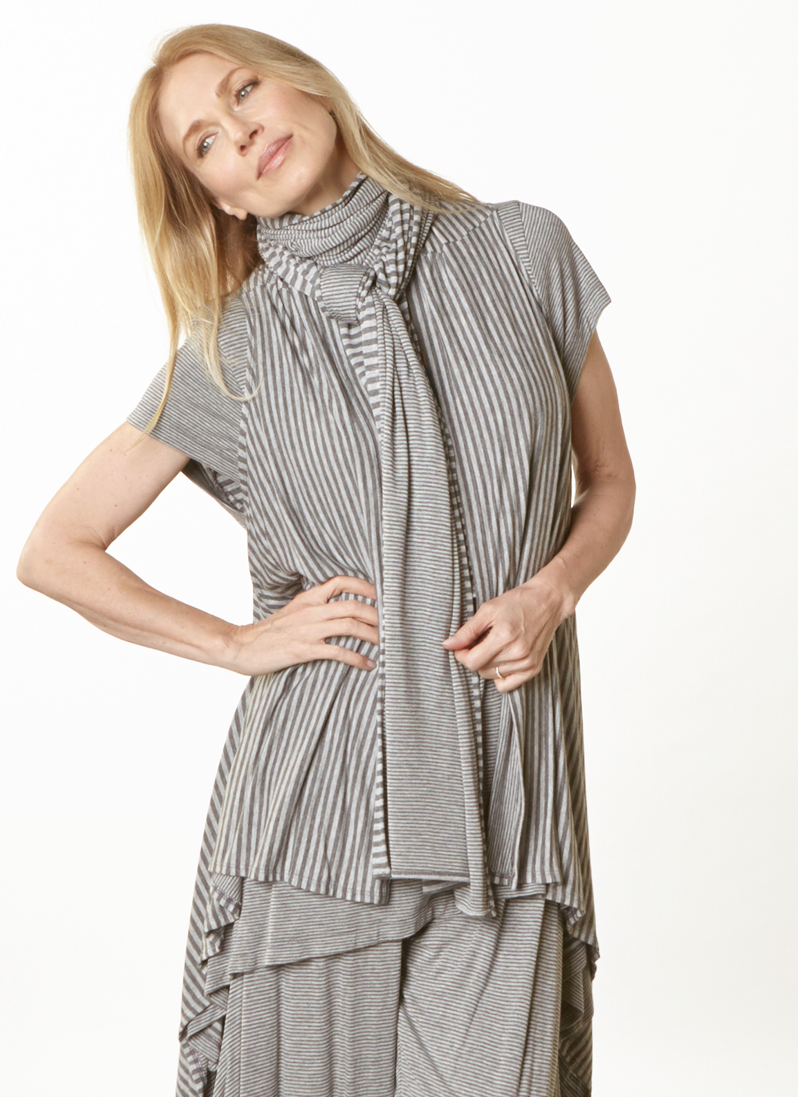 Scarf, Eve Vest, Charlie Shirt, Hamish Pant in Grey Double Stripe Jersey