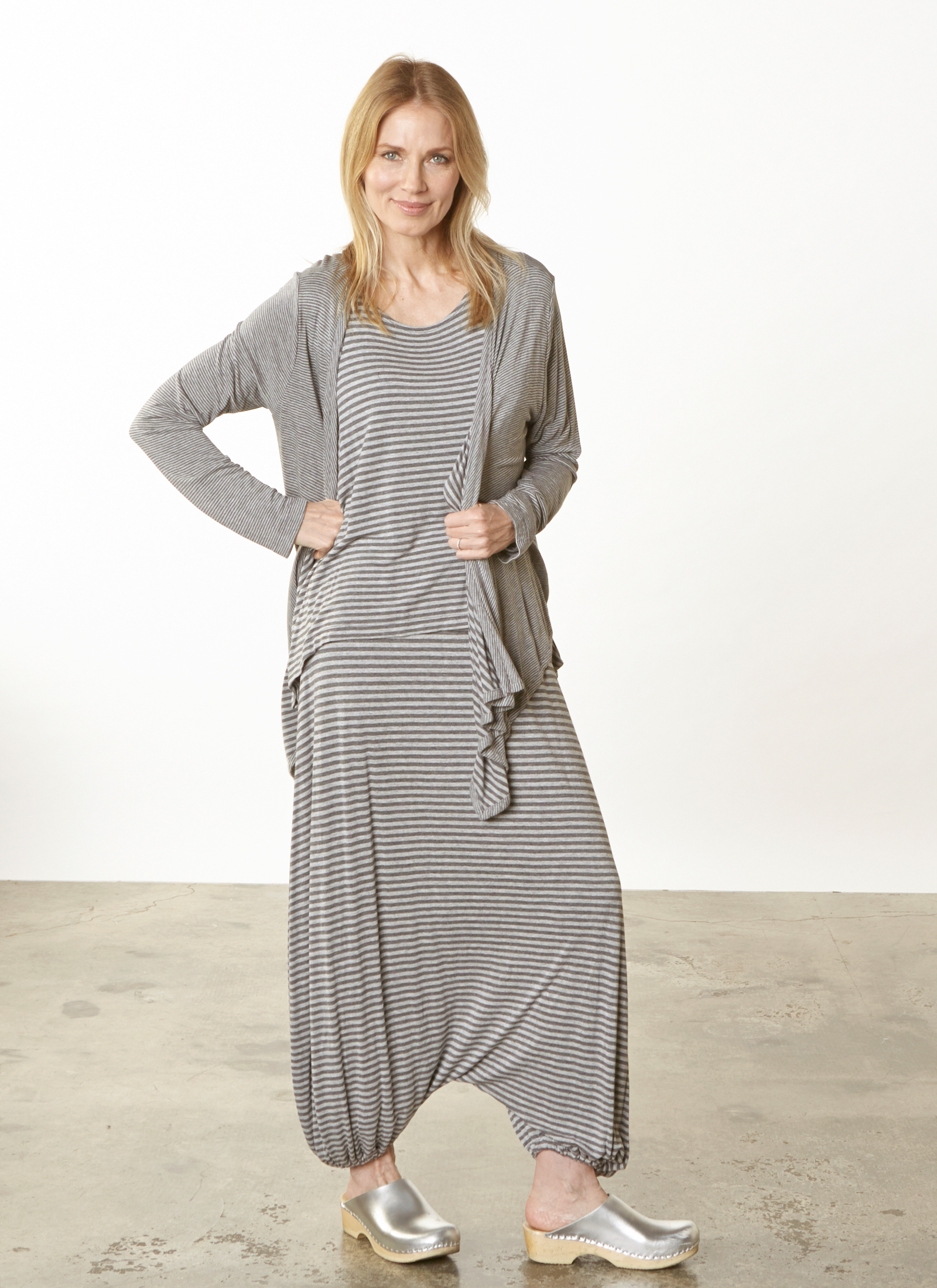 Alta Cardigan, Renee Tank, Gaucho Pant in Grey Double Stripe Jersey