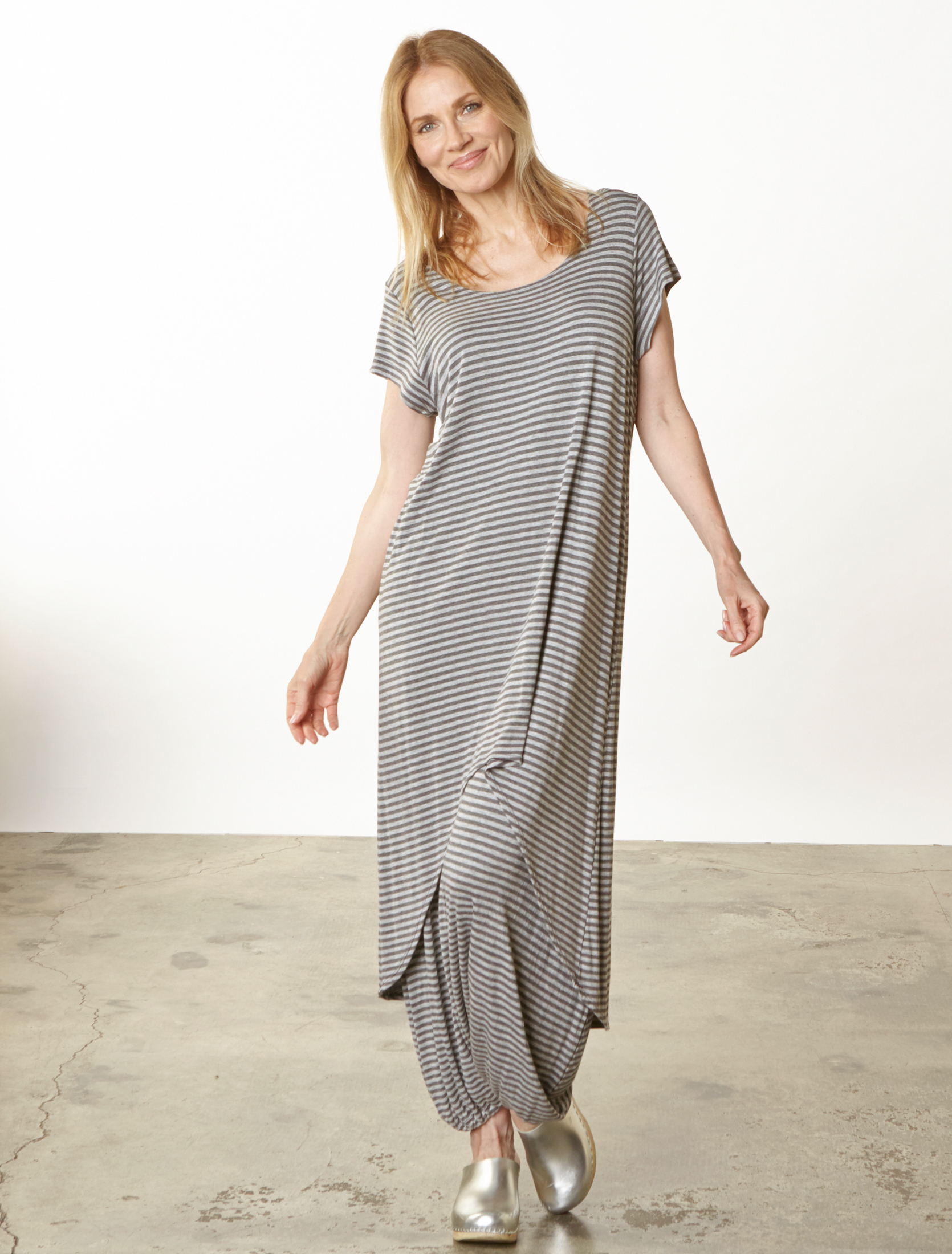 Linnea Dress, Gaucho Pant in Grey Double Stripe Jersey