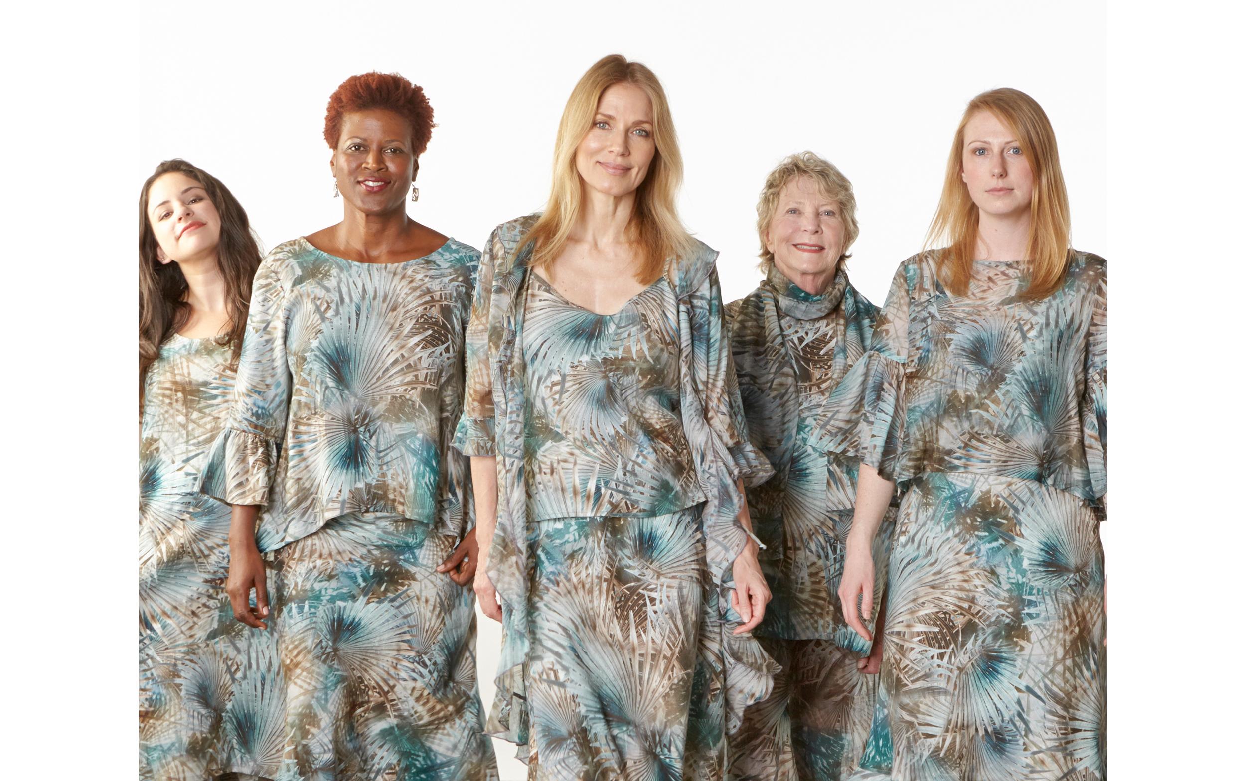 Luella Dress, Fran Shirt, Long Bias Skirt, Lucy Tank, Resort Shirt,Long Full Pant in Palma Italian Linen, Frida Shirt, Camille Cardigan, Scarf in Palma Italian Cotton/Silk