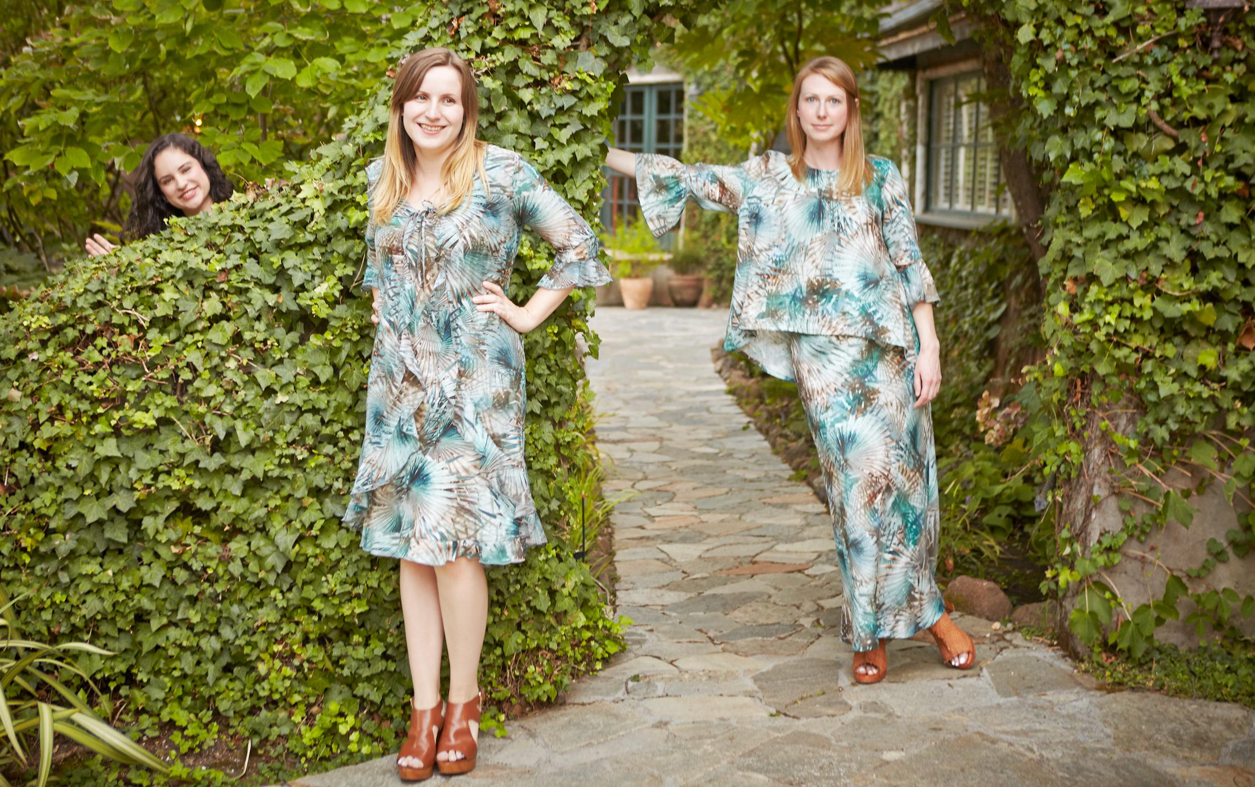 Camille Cardigan in Palma Italian Cotton/Silk, Giselle Dress, Fran Shirt,Long Bias Skirt in Palma Italian Linen