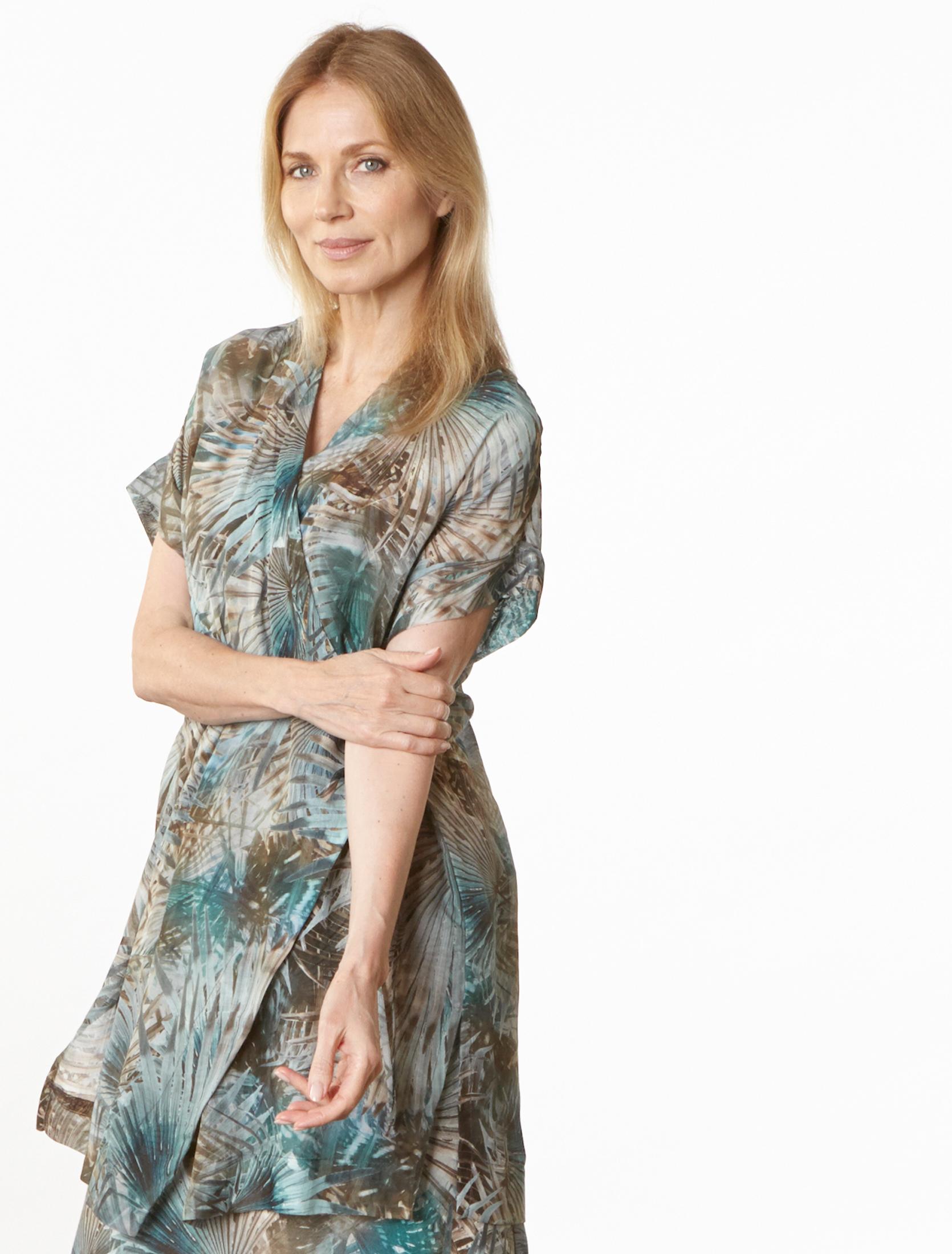 Freja Cardigan in Palma Italian Cotton/Silk, Giselle Dress in Palma Italian Linen