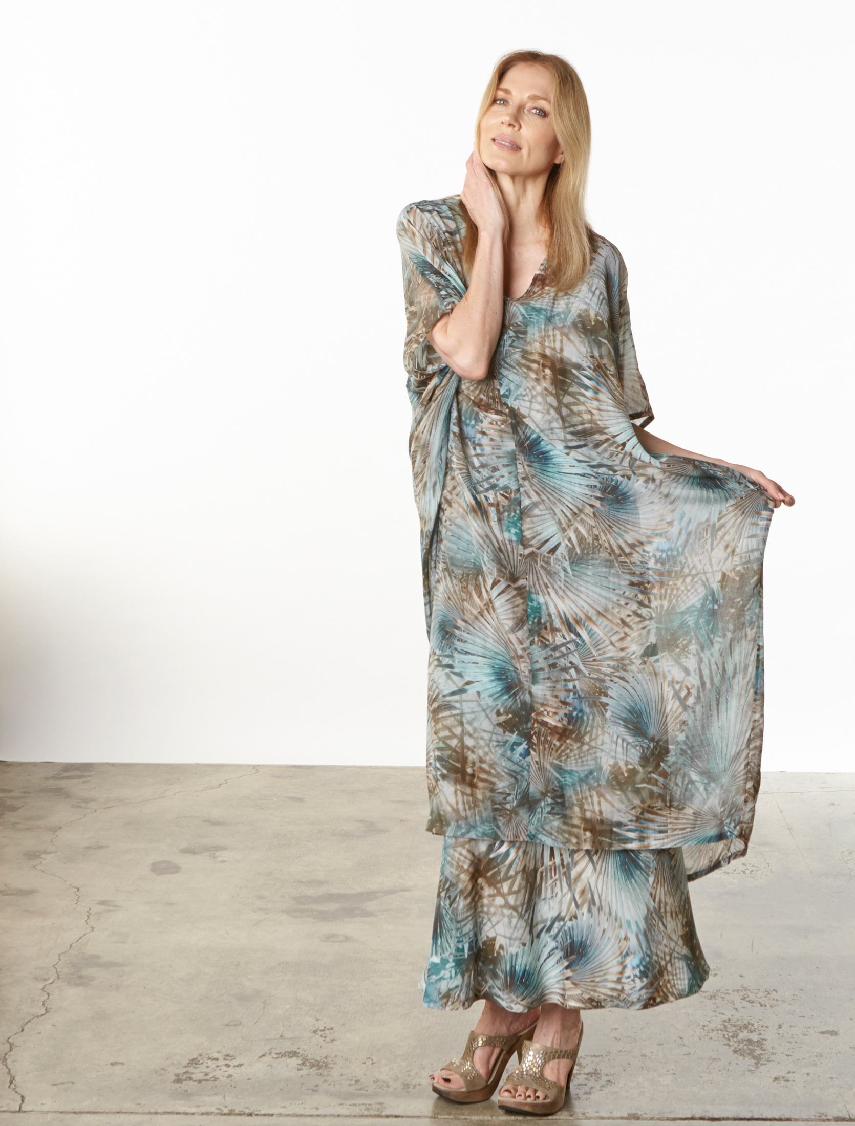 Petra Dress in Palma Italian Cotton/Silk, Long Bias Skirt in Palma Italian Linen
