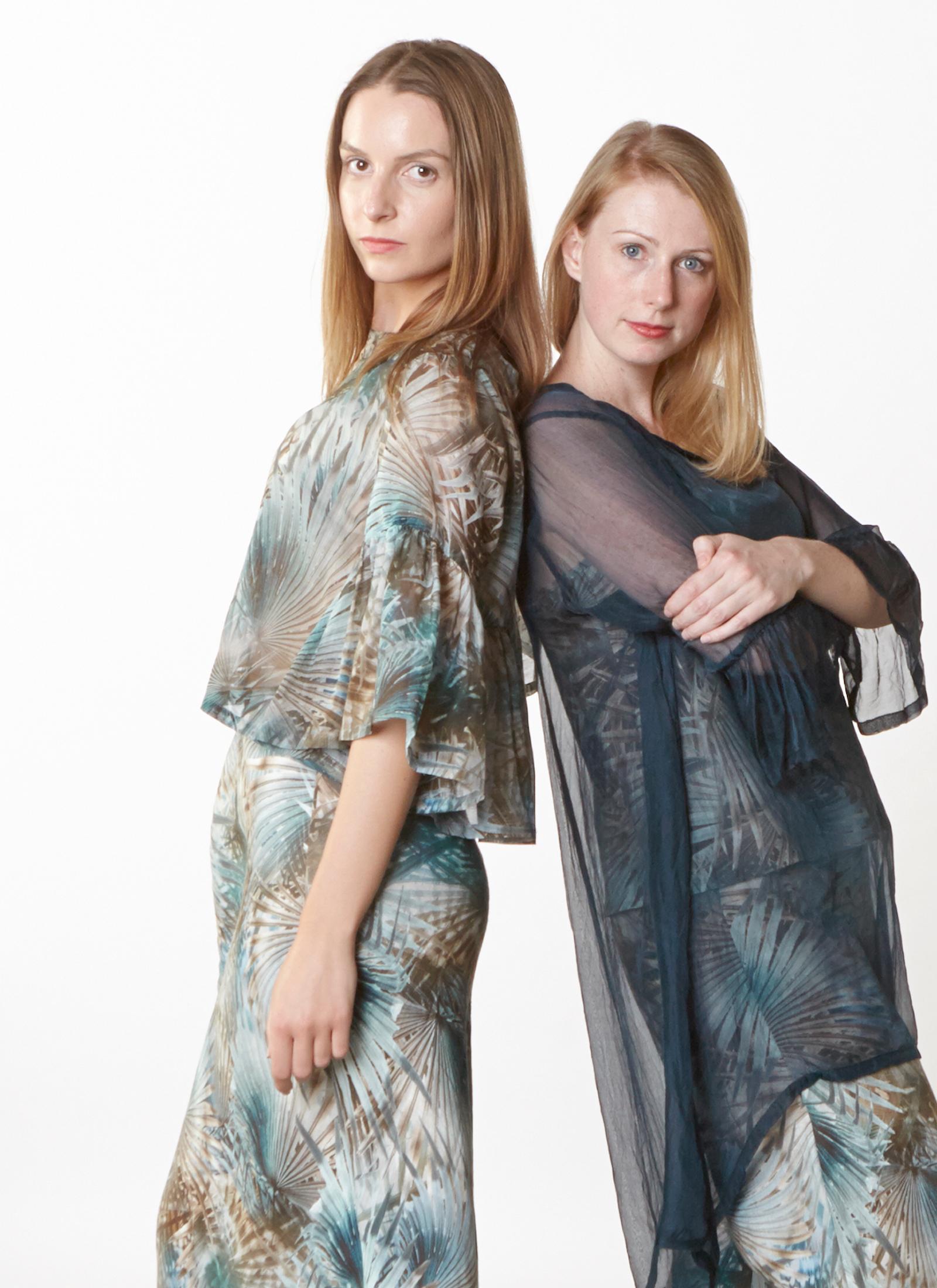 Frida Shirt in Palma Italian Cotton/Silk, Luella Dress, Lucy Tank, Long Bias Skirt in Palma Italian Linen,Phryne Tunic in Teal Italian Sheer Tie Dye Silk