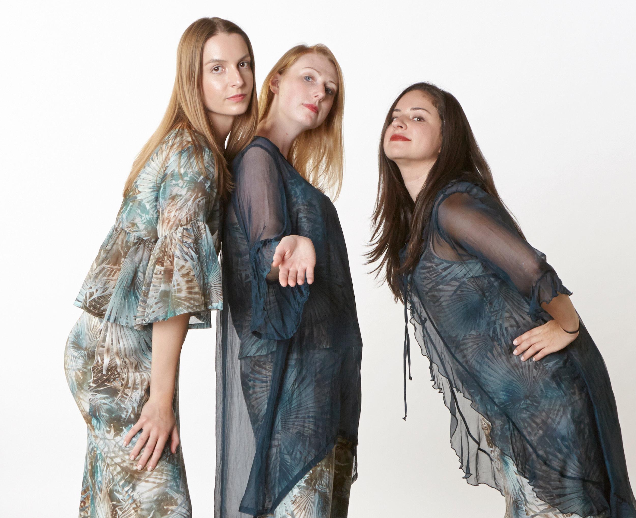 Frida Shirt in Palma Italian Cotton/Silk, Luella Dress, Lucy Tank, Long Bias Skirt in Palma Italian Linen,Phryne Tunic, Camille Cardigan in Teal Italian Sheer Tie Dye Silk