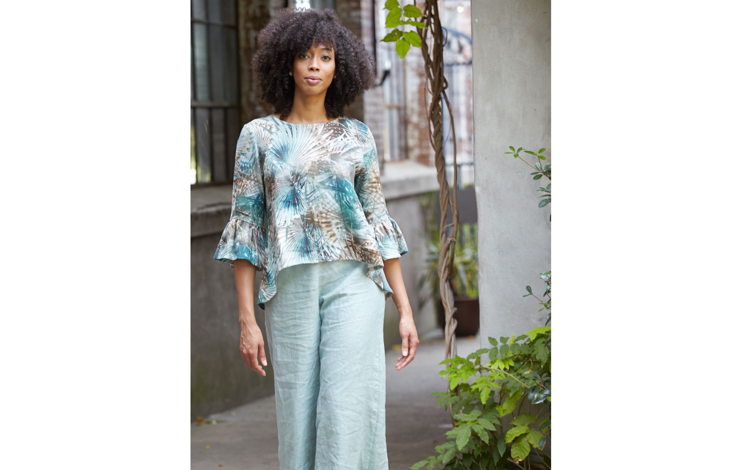 Fran Shirt in Palma Italian Linen,Long Full Pant in Taormina Cross Dyed Linen