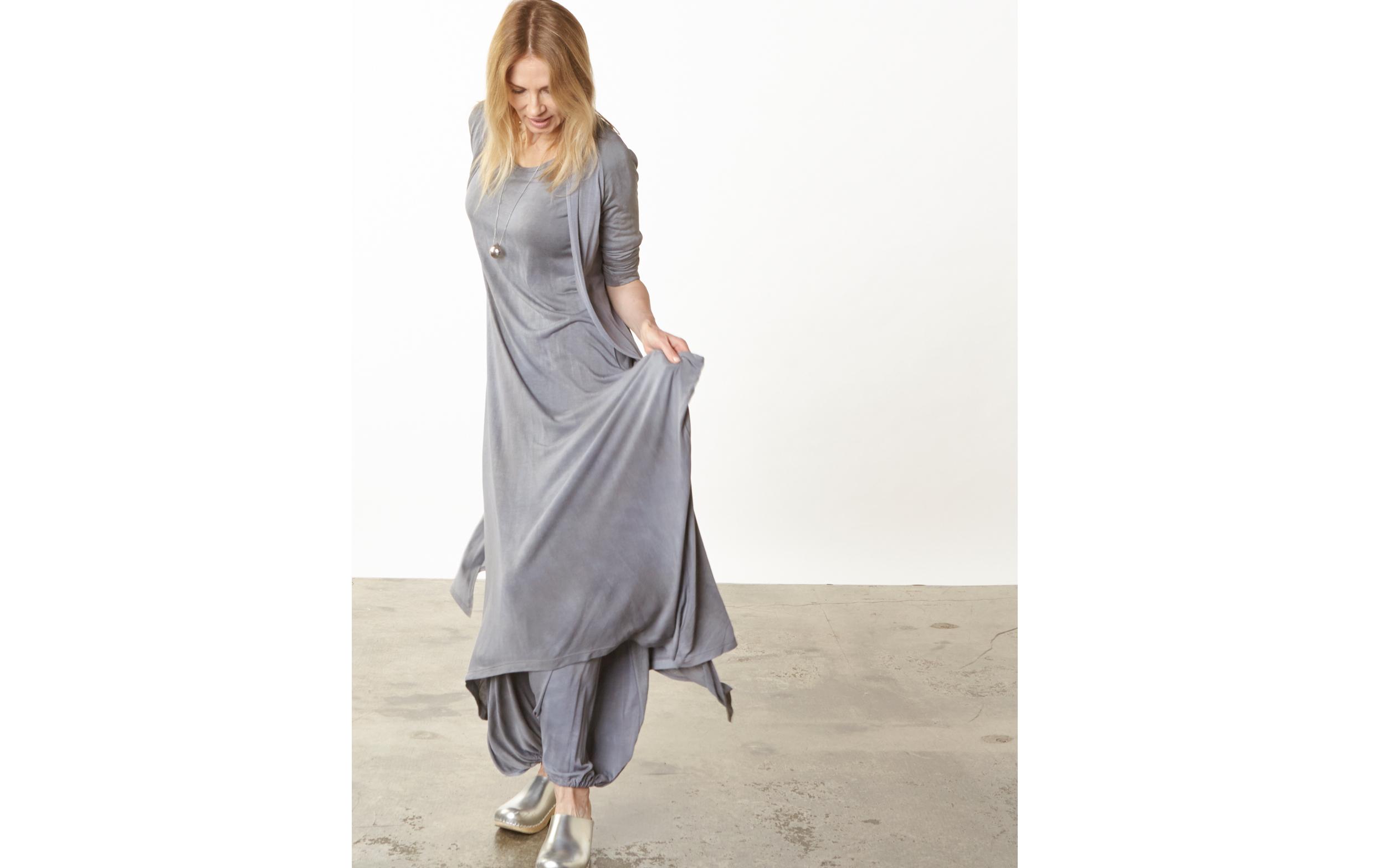 Tristan Cardigan, S/S Chelsea Dress, Gaucho Pant in Grey Italian Tie Dye Viscose Jersey