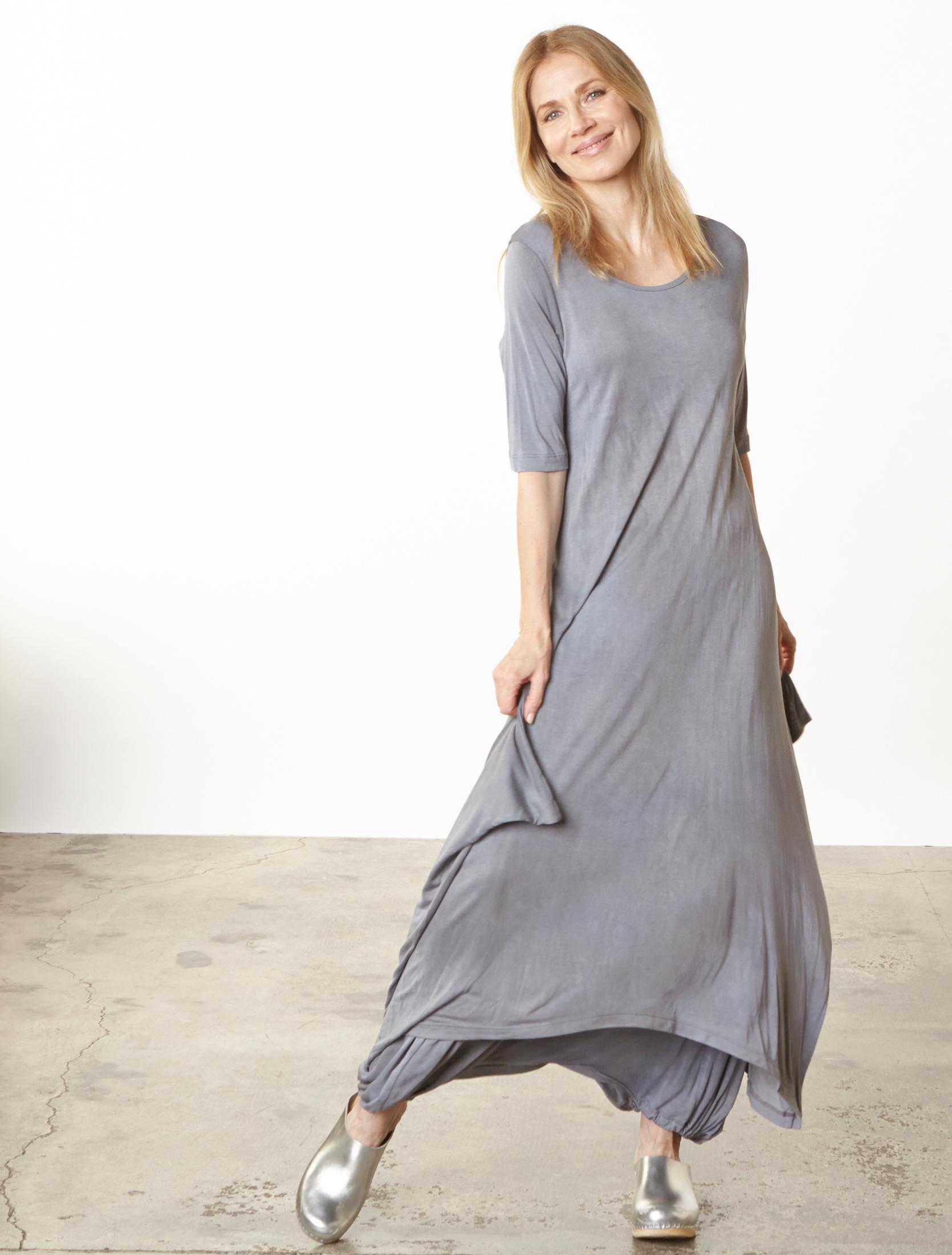 S/S Chelsea Dress, Gaucho Pant in Grey Italian Tie Dye Viscose Jersey