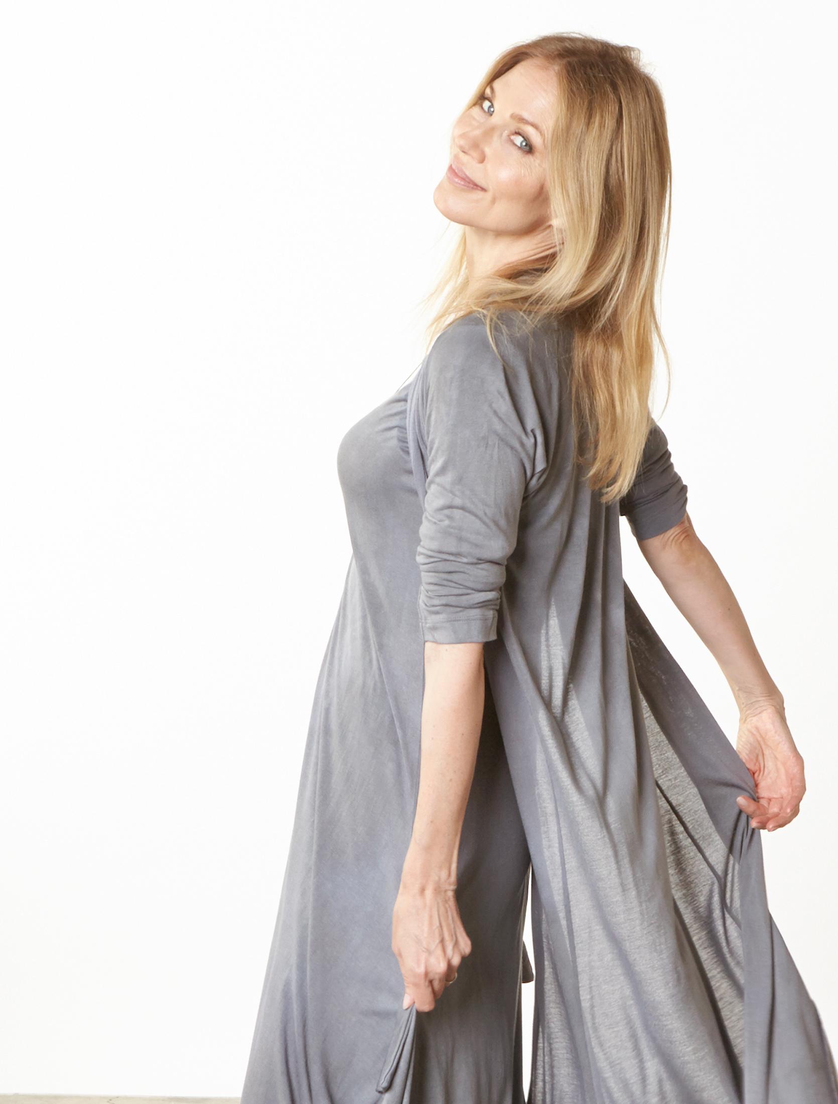 Tristan Cardigan, S/S Chelsea Dress in Grey Italian Tie Dye Viscose Jersey