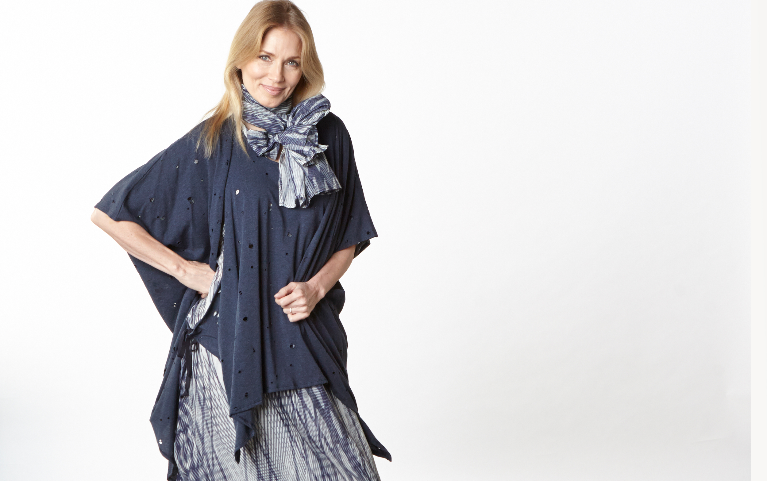 Annette Cardigan, Zara Vest in Navy Italian Fori Jersey, Scarf, Petra Dress in Netto Italian Cotton/Silk