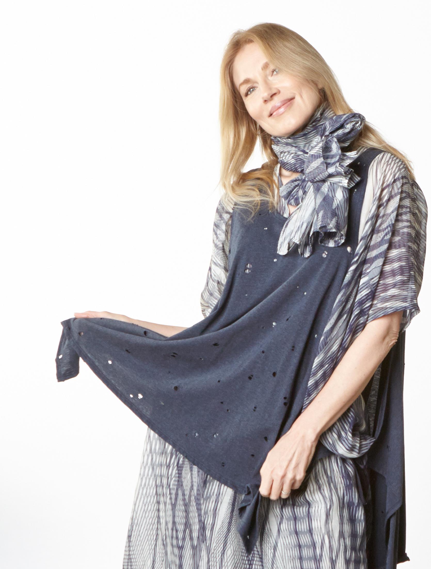 Zara Vest in Navy Italian Fori Jersey, Scarf, Petra Dress in Netto Italian Cotton/Silk