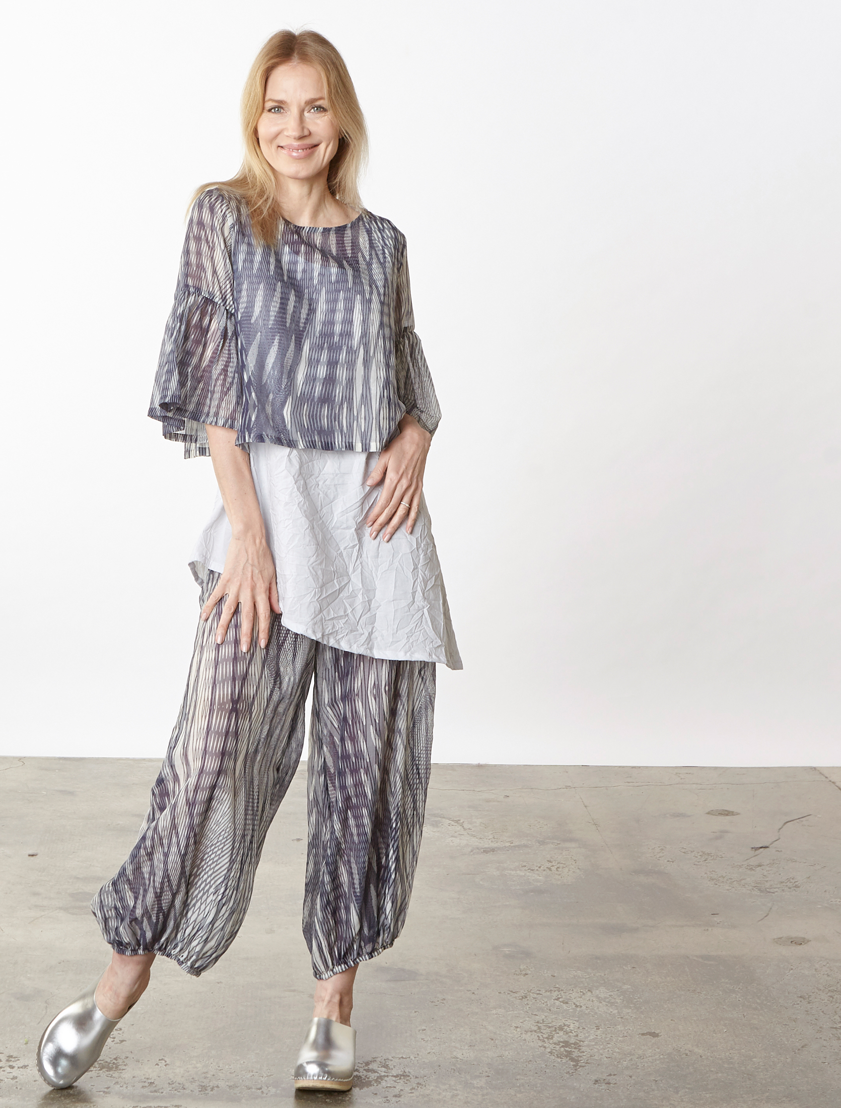 Frida Shirt, Bell Pant in Netto Italian Cotton/Silk, Una Tunic in Ice Italian Crinkle Cotton
