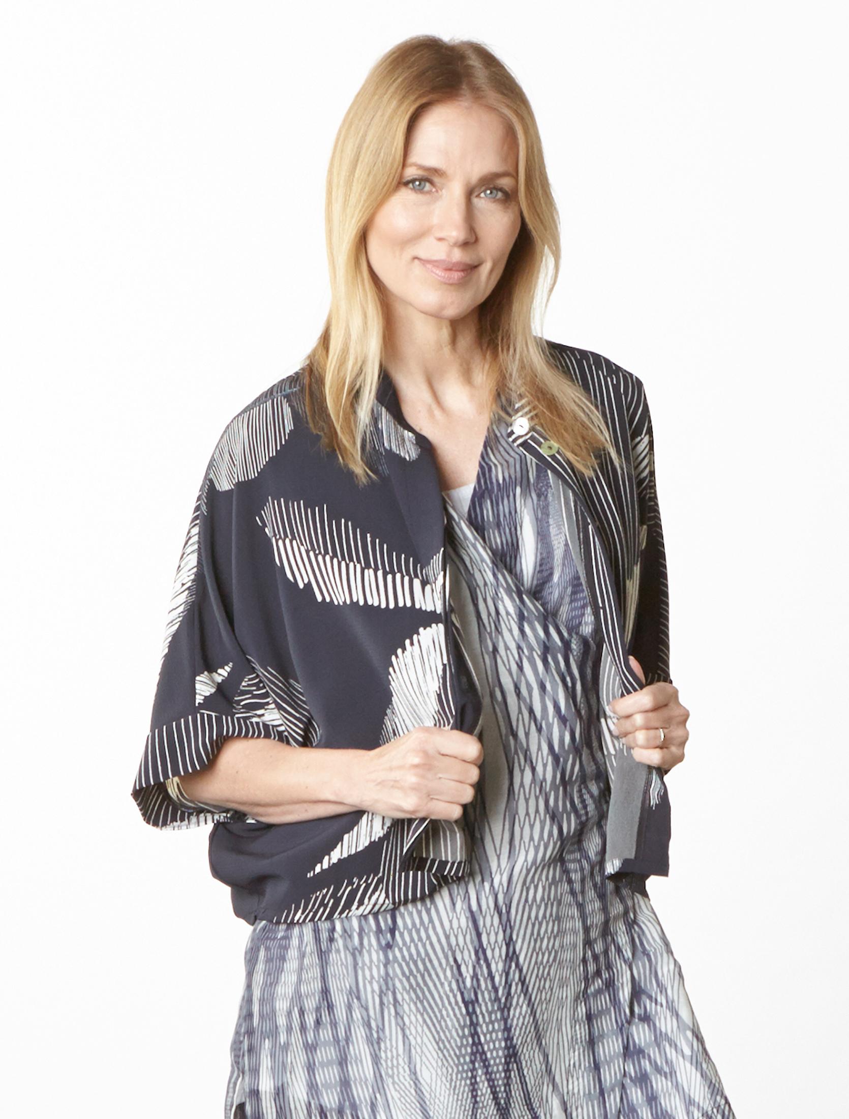 Joe Shirt in lndaco Italian Foglia Print, Freja Cardigan in Netto Italian Cotton/Silk