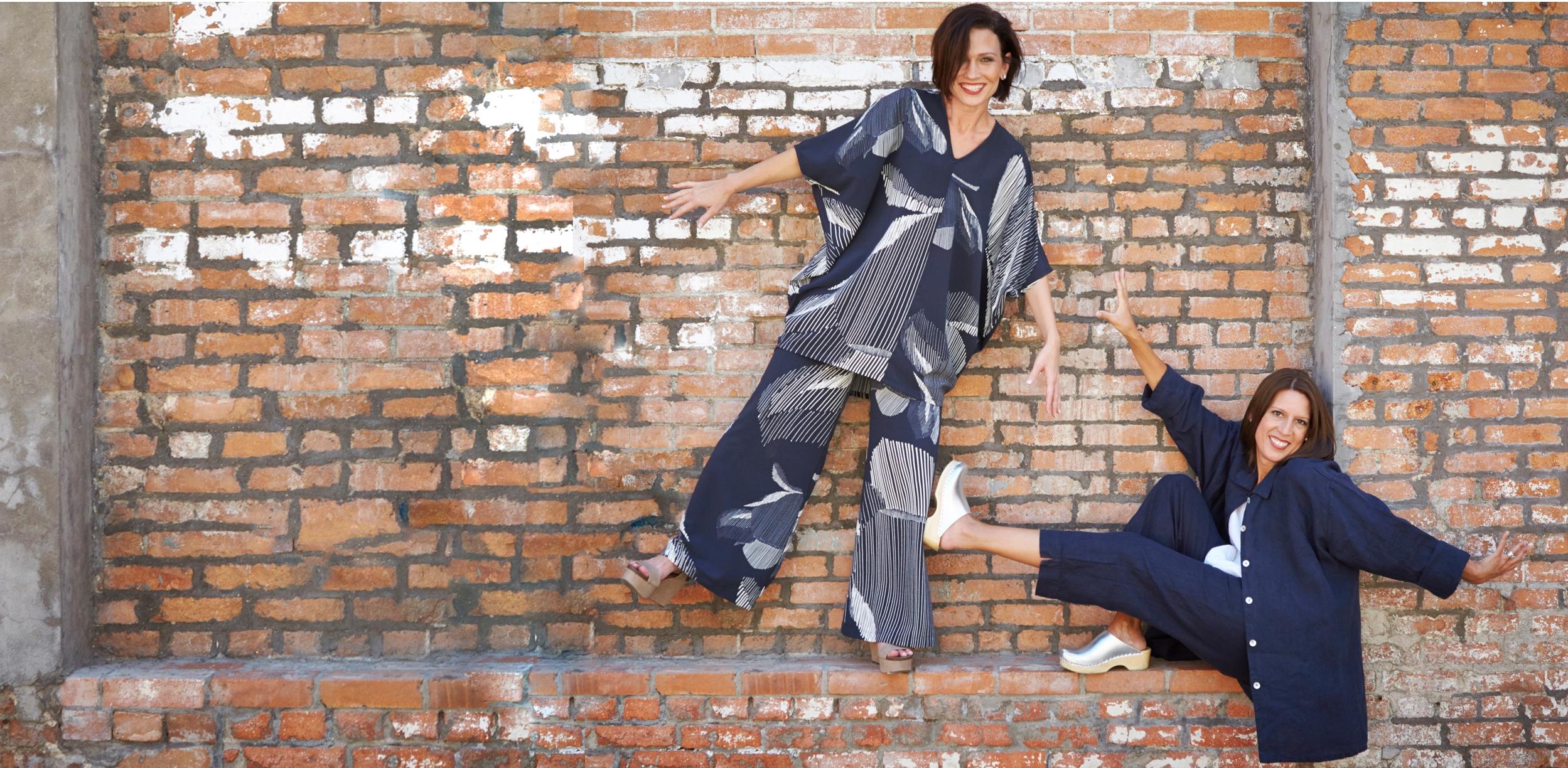 Raquel Tunic, Long Full Pant in lndaco Italian Foglia Print,Mirren Shirt, Capri Pant in Aviator Light Linen