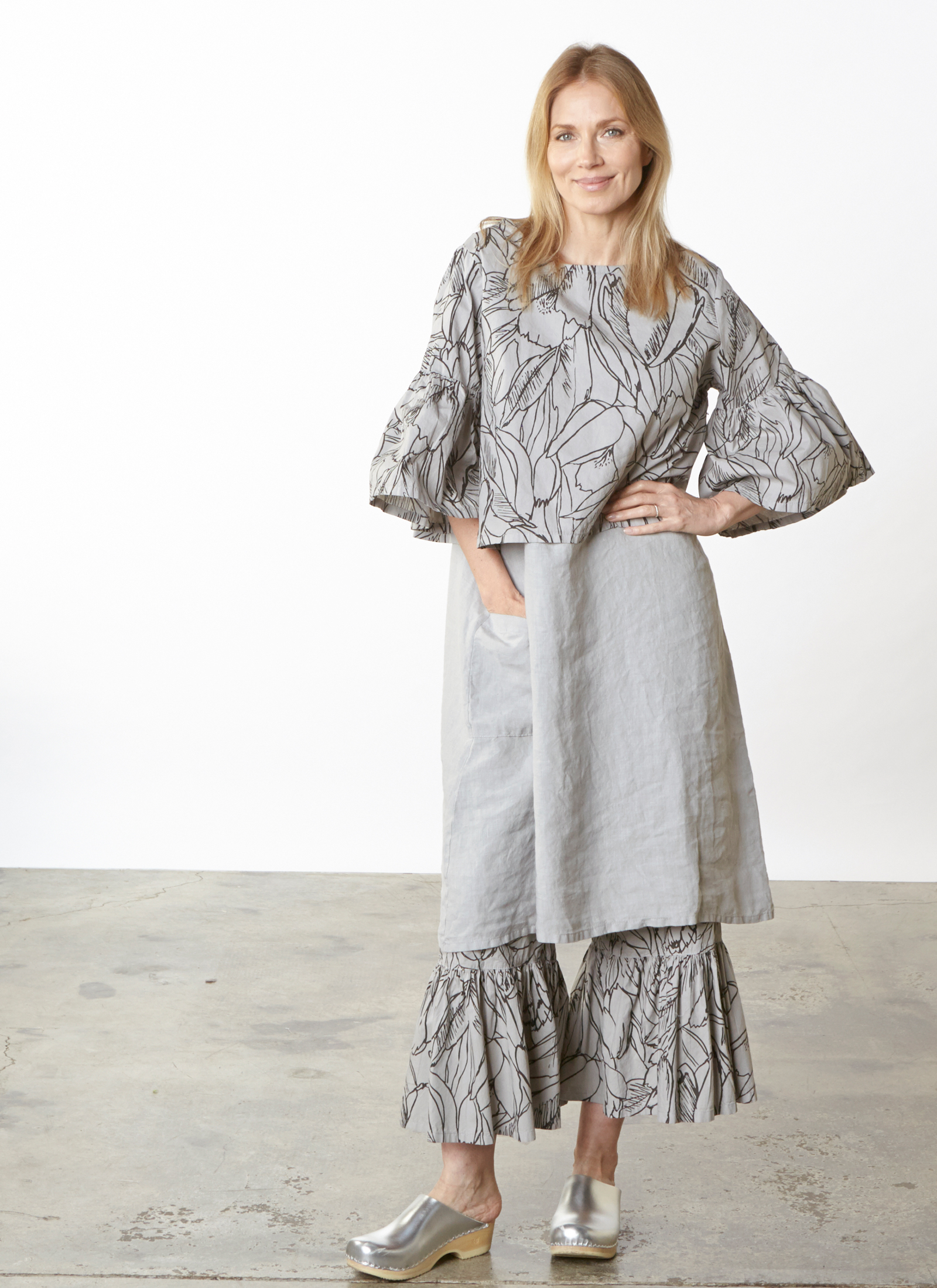 Frida Shirt, Ruffle Pant in Pier Flower Poplin, Luella Dress in Pier Light Linen