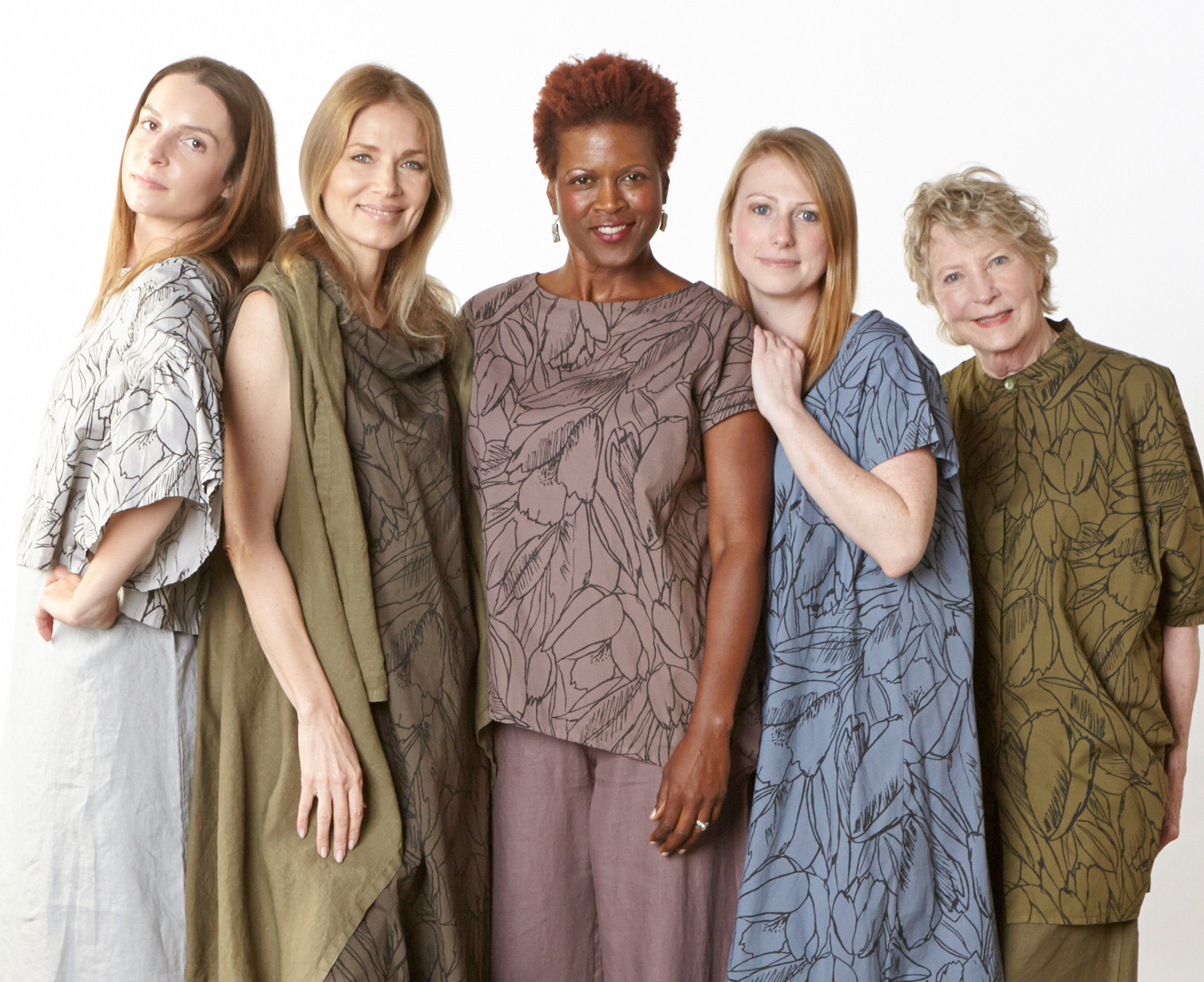 Frida Shirt in Pier, Henrietta Dress in Kvass, Ivy Shirt in Easel, Winslow Dress in Loon, Jake Shirt in Grove Flower Poplin, Luella Dress in Pier, Eve Vest in Grove, Oscar Pant in Easel Light Linen