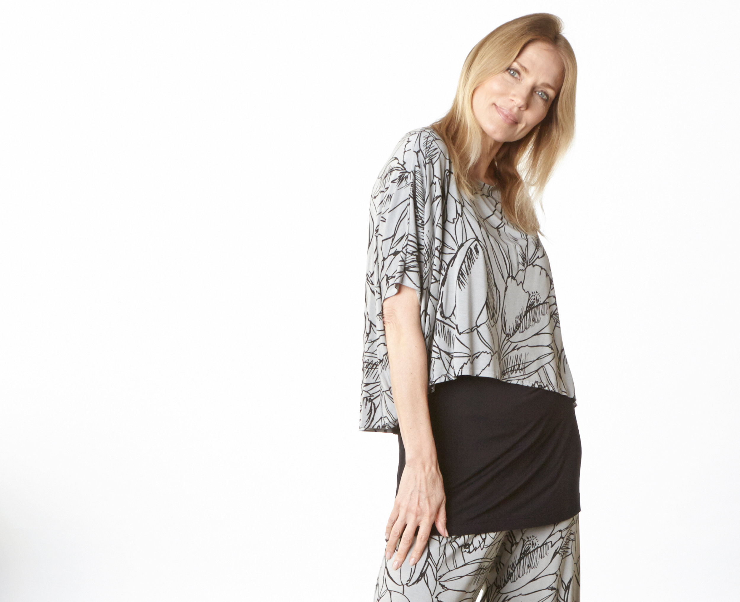 Vlad Shirt, Oscar Pant in Pier Flower Viscose Jersey, Lola Tunic in Black Micro Modal