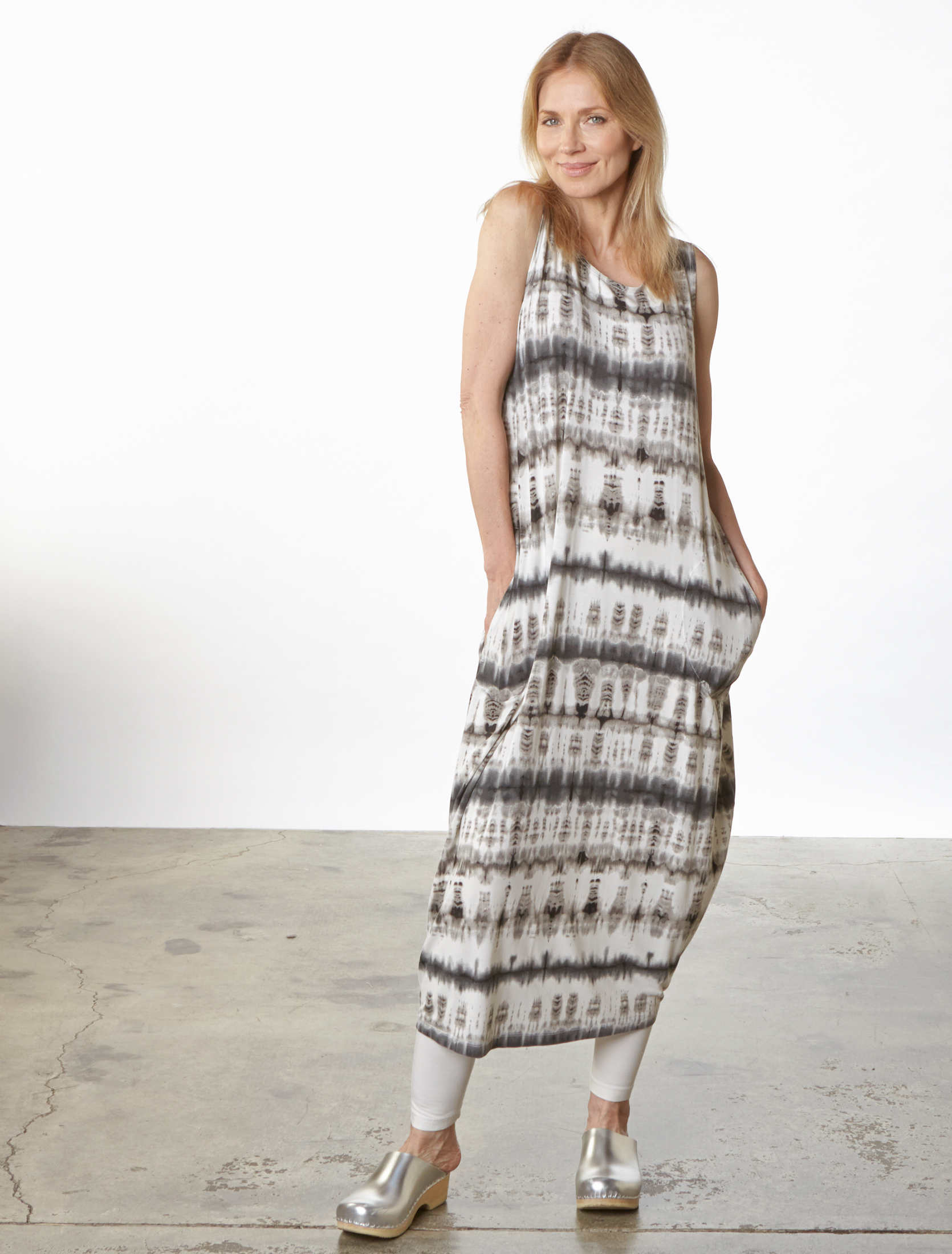 Pippa Dress in Cream Tie Dye Viscose Jersey, Basic Legging in Cream Bamboo Cotton