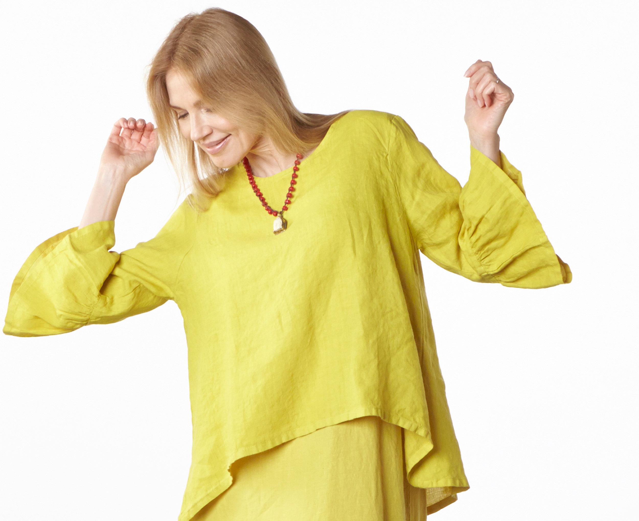 Fran Shirt, Salome Dress in Oriole Light Linen