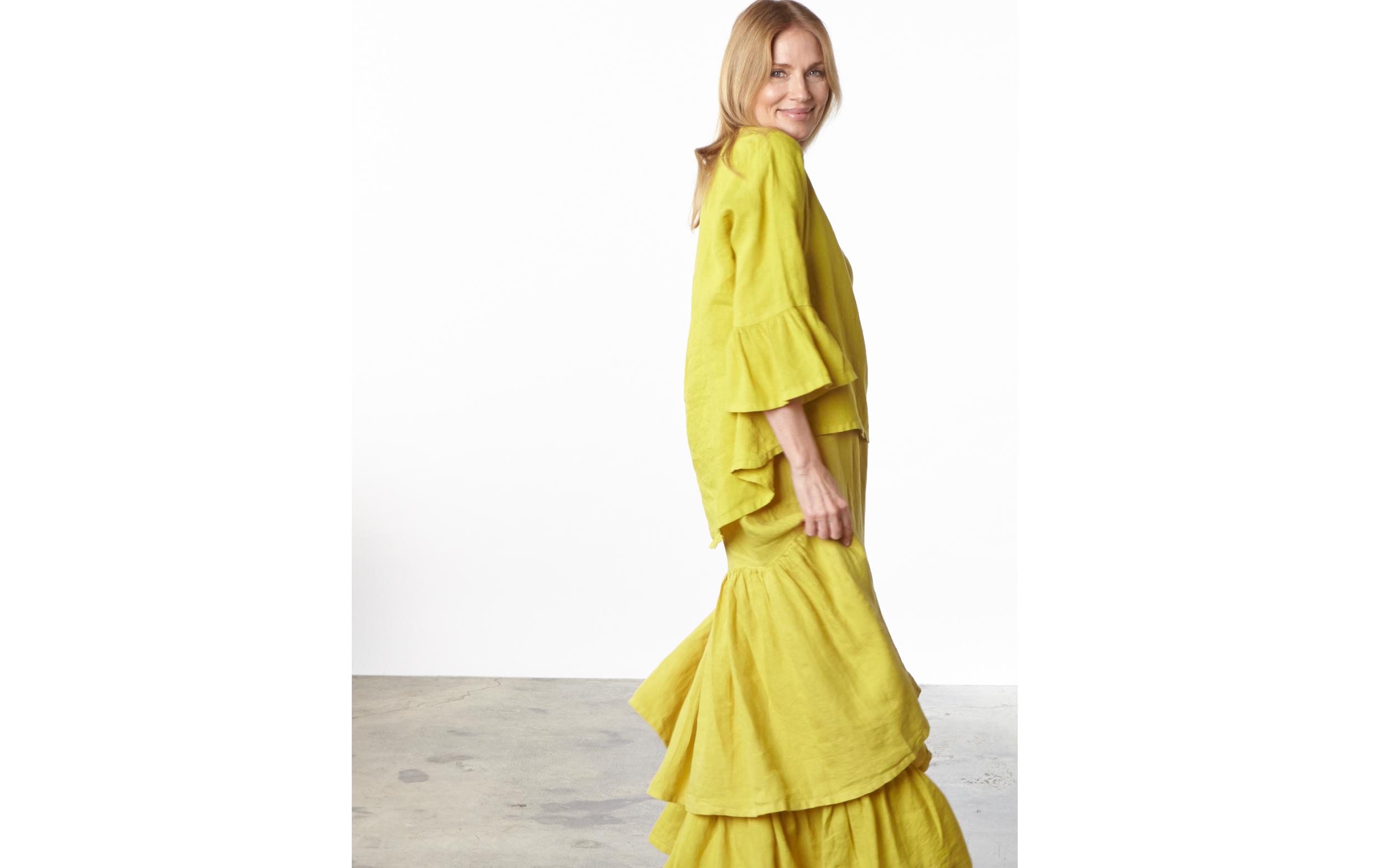 Fran Shirt, Salome Dress, Ruffle Skirt in Oriole Light Linen