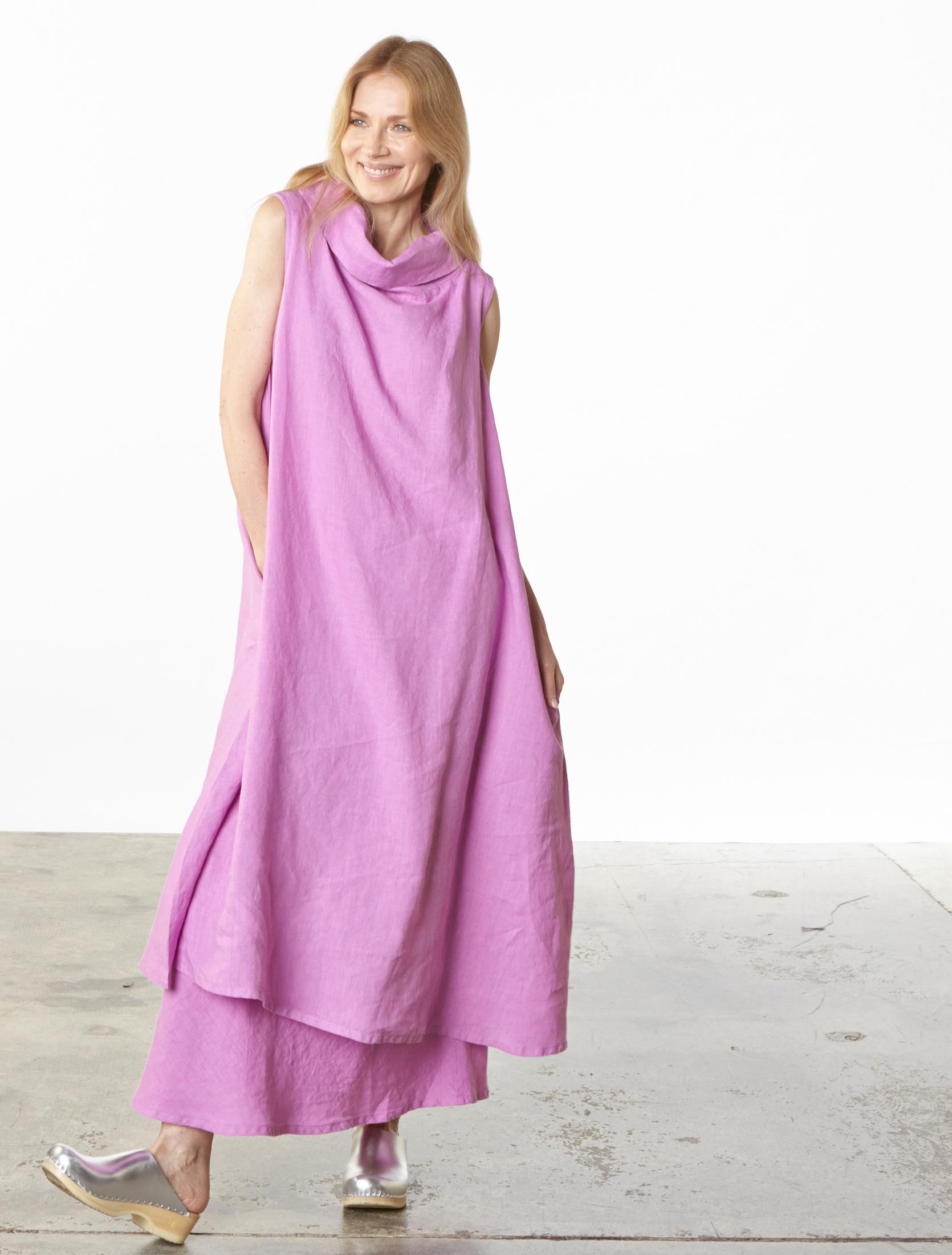 Henrietta Dress, Long Bias Skirt in lxia Light Linen